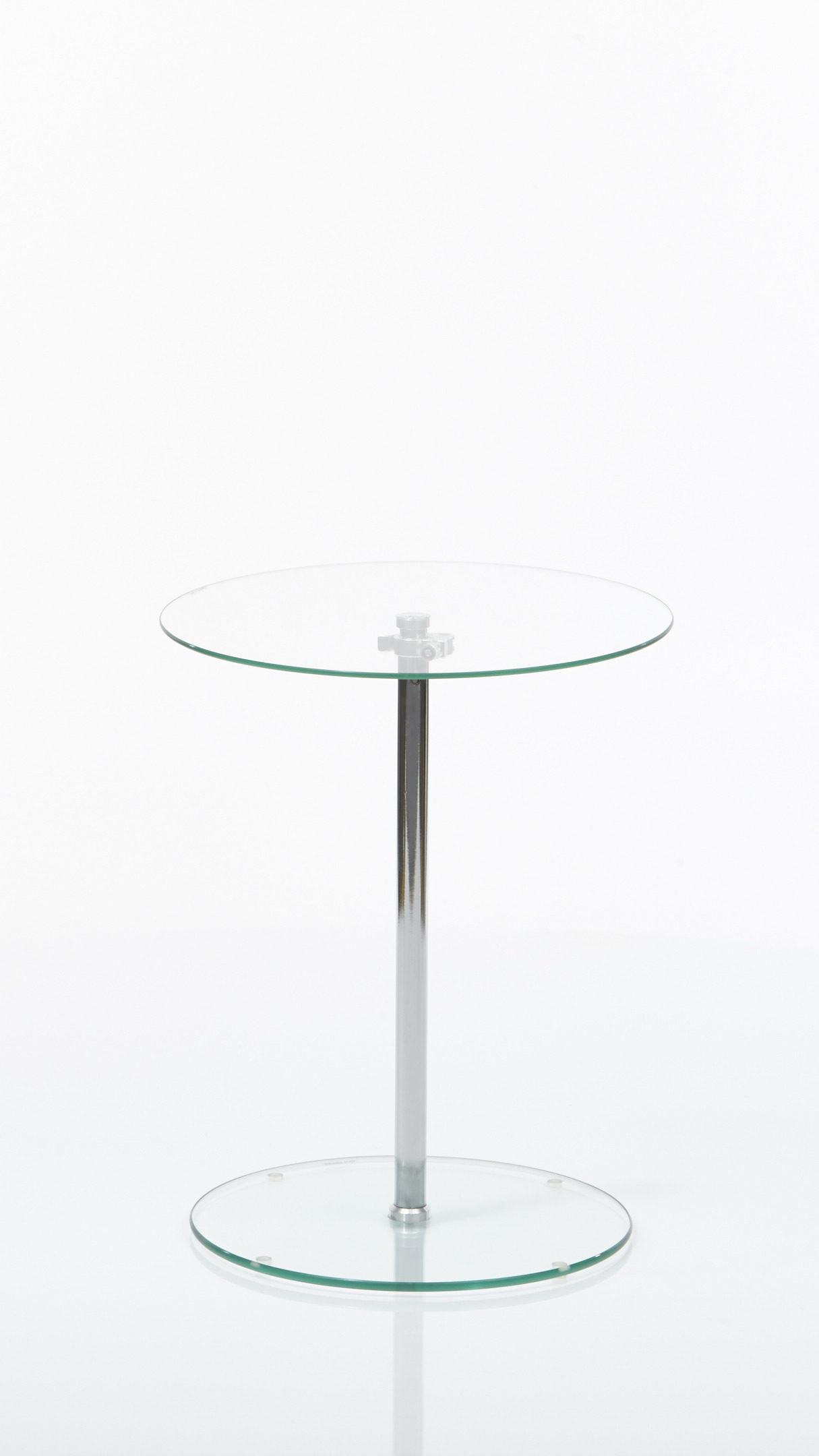 Höhenverstellbarer Beistelltisch Bzw Couchtisch Klarglas Chrom