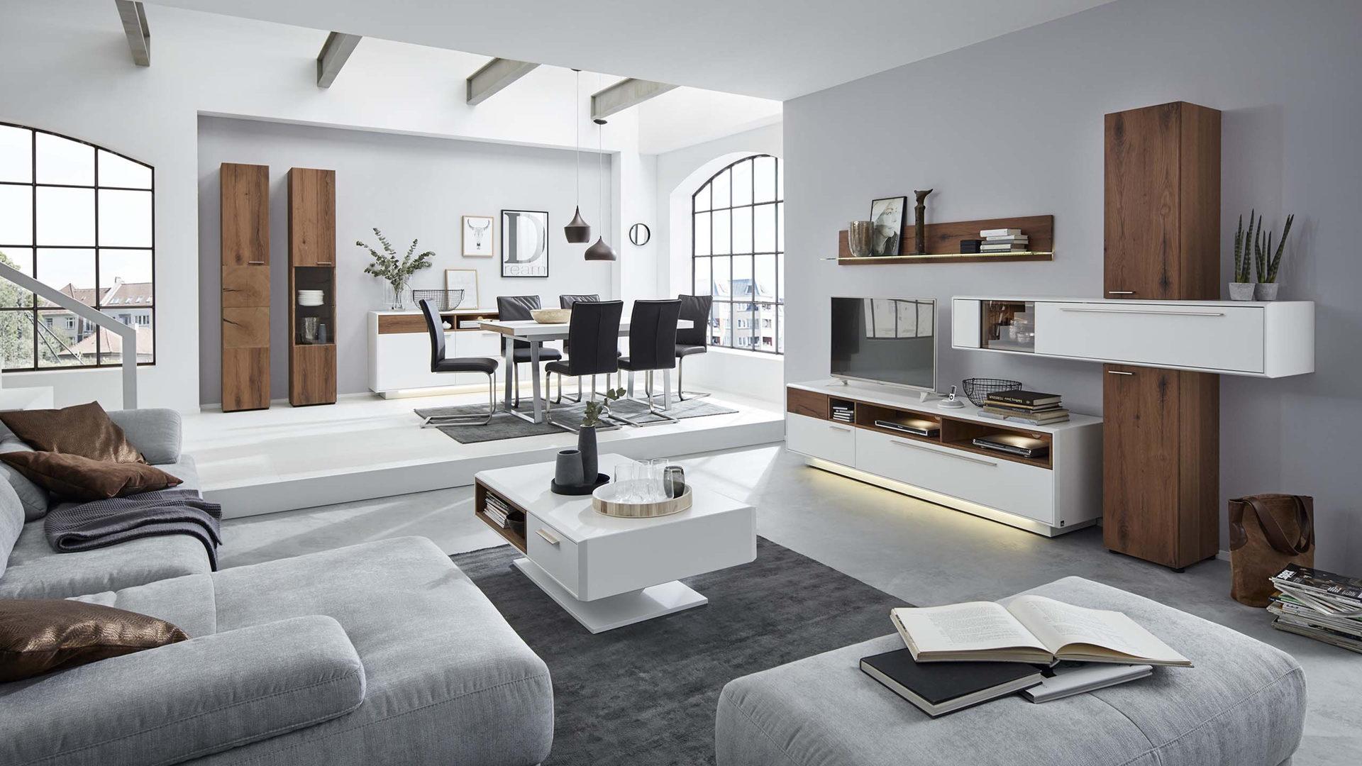 Interliving Wohnzimmer Serie 2102 – Wohnkombination, dunkles, Bad ...