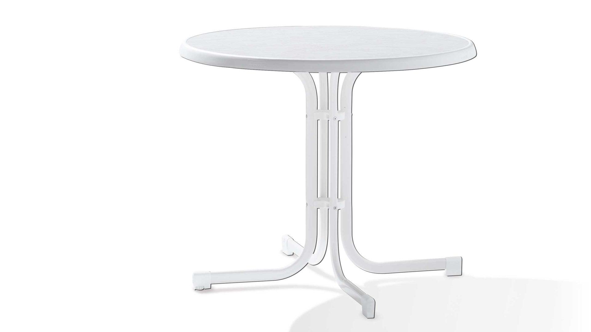 Gartentisch Sieger In Weiß Sieger Klapptisch Gartentisch Tischplatte  Mecalit D.: 86 Cm Gestell Stahlrohr