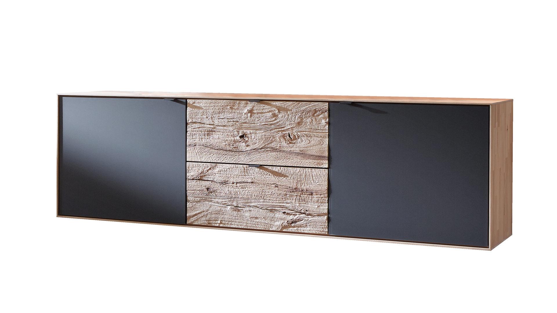 Sideboard Bzw Kommode Gebürstete Riffbuche Anthrazitfarbene