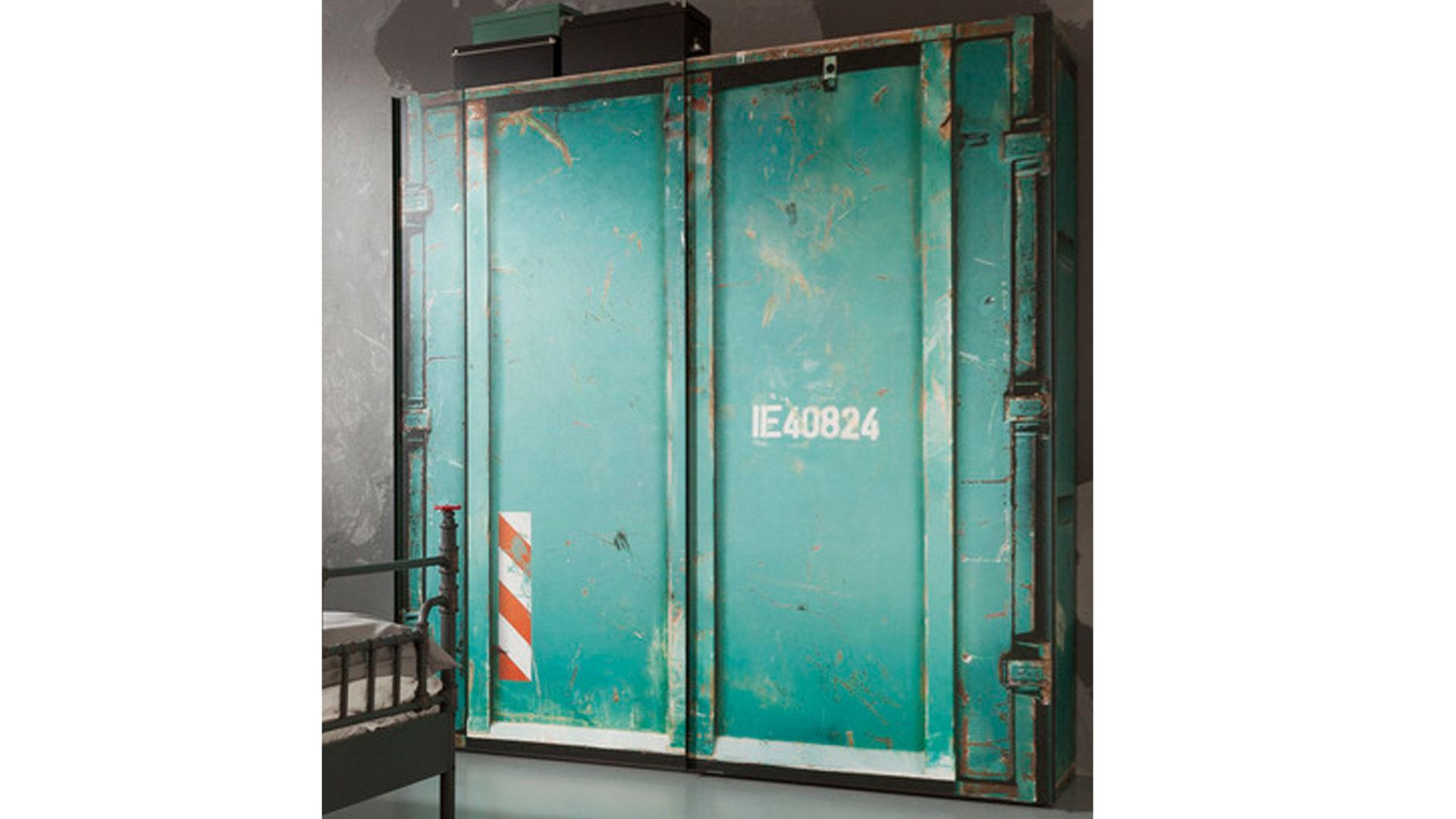 Schwebetürenschrank, türkisfarbener Vintage-Look – zwei Türen, Bad ...