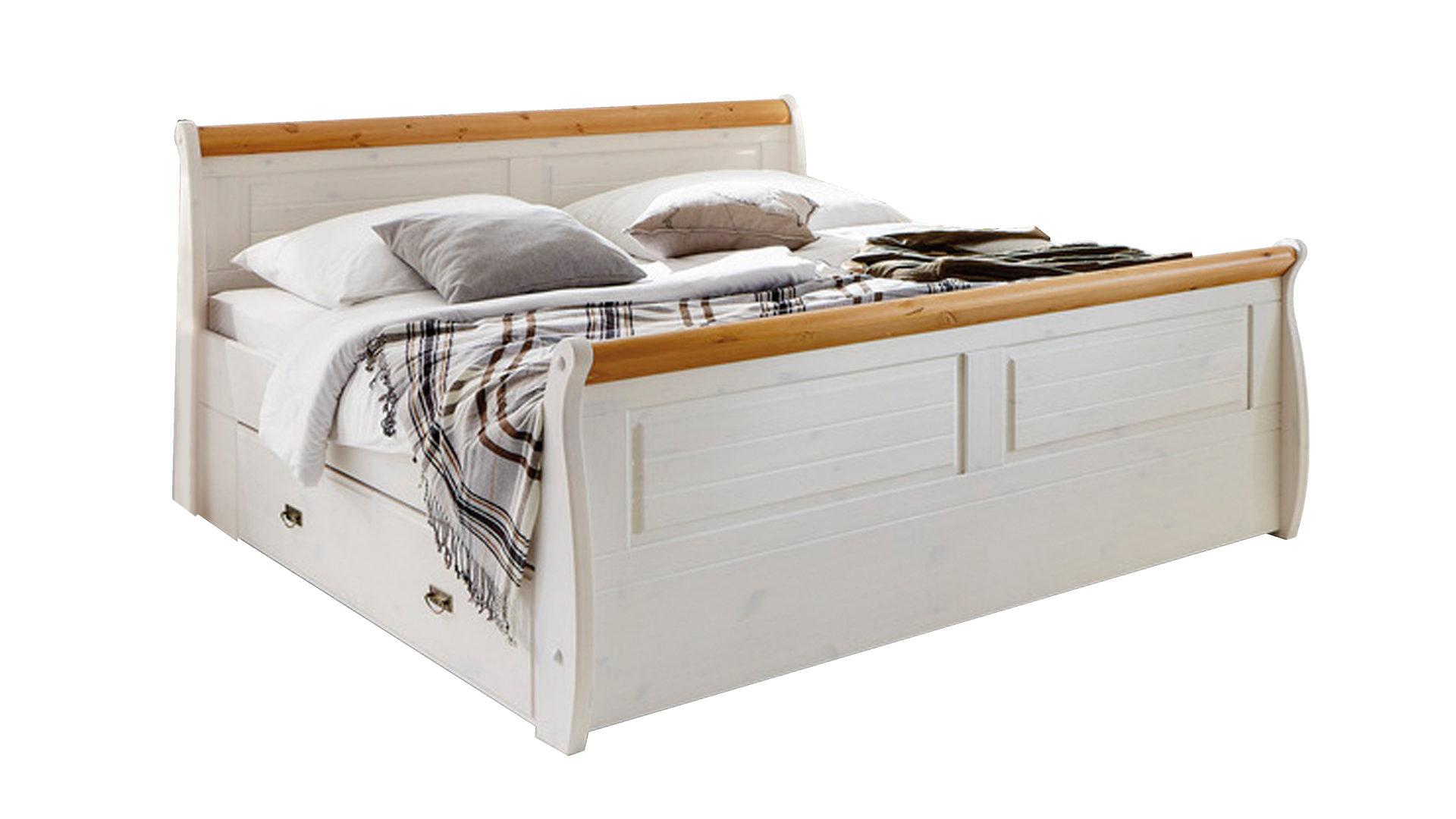 3s Frankenmöbel Bettgestell Kiefer Weiß Honigfarben Gewachst Liegefläche Ca 180 X 200 Cm