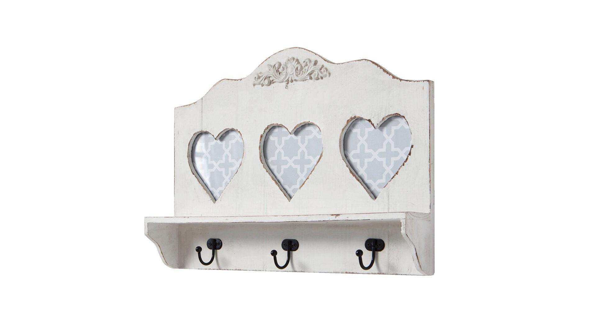 Wandgarderobe im Vintage-Stil als Dielenmöbel, weißes Holz & Metall – ca.  45 x 32 x 8 cm