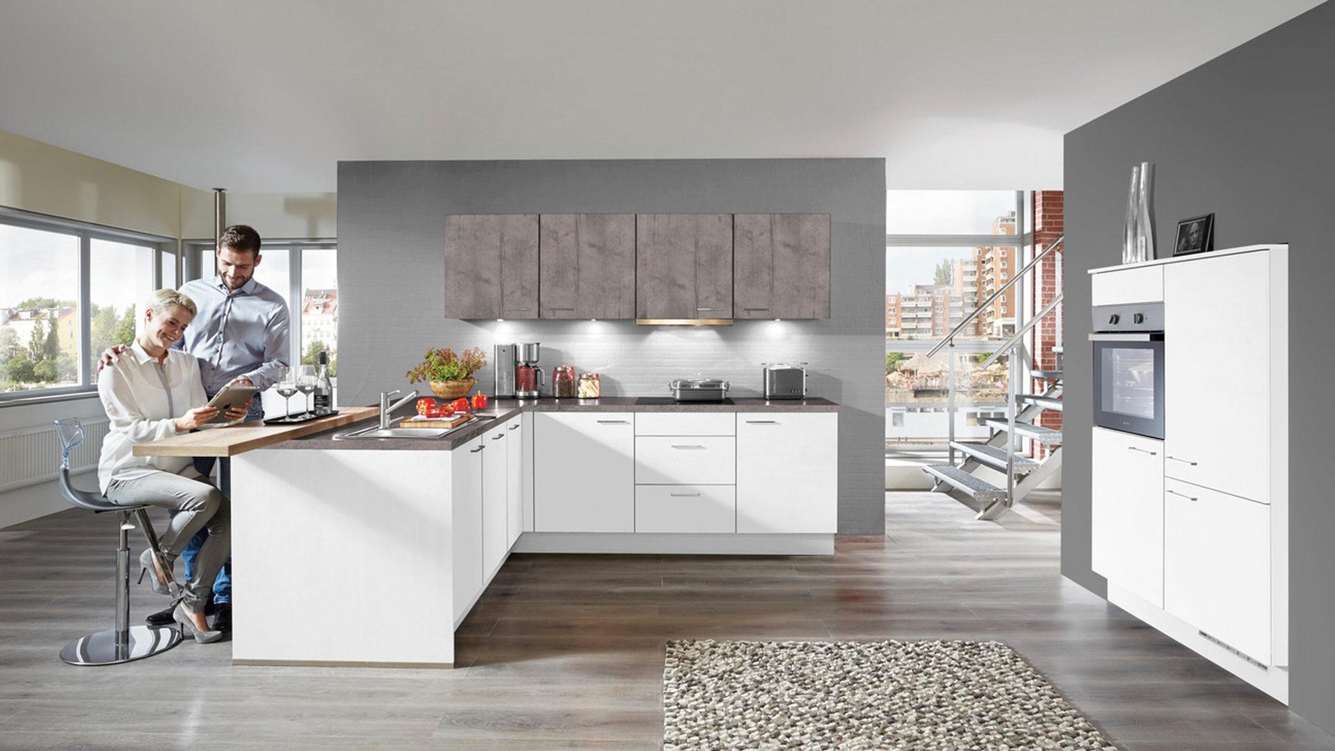 Einbauküche Mit Gorenje Elektrogeräten Wie Kühlschrank Weiße Beton Schiefergraue Kunststoffoberflächen