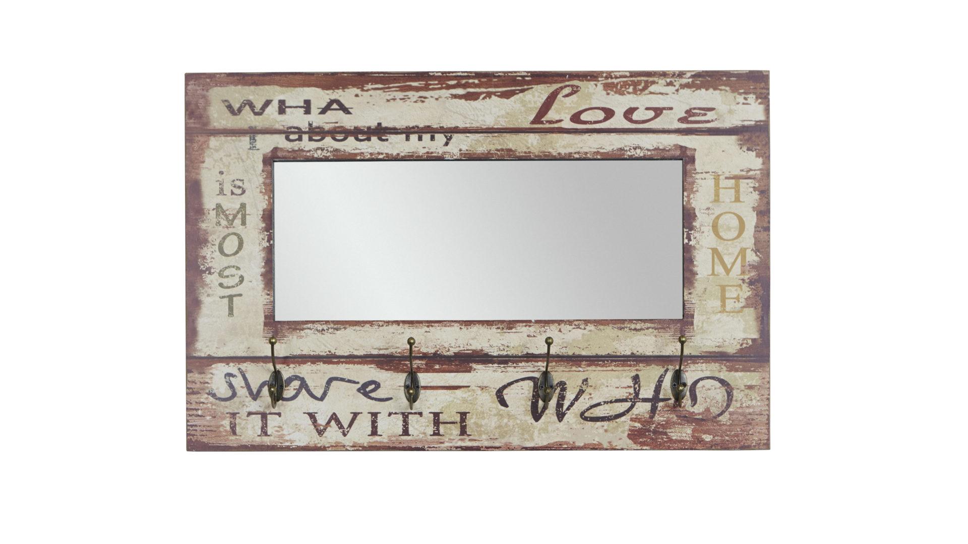 Wandgarderobe im Vintage-Look mit Garderobenspiegel, weiß mit Vintageprint  – ca. 80 x 52 cm