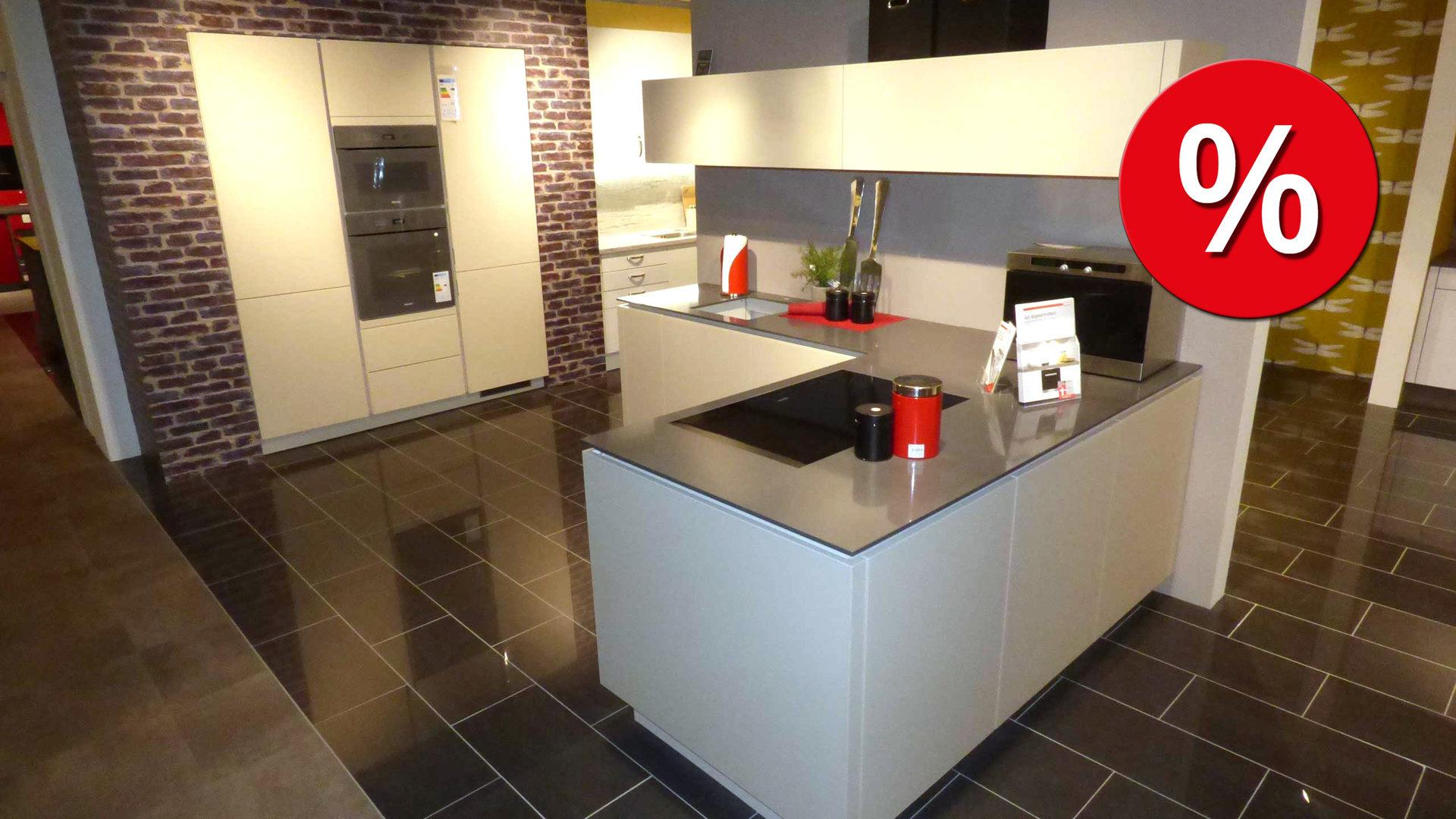 Alno küchen arbeitsplatten  ALNO Küche STAR SATINA inkl. Miele E-Geräte. Mit Glasfront + ...