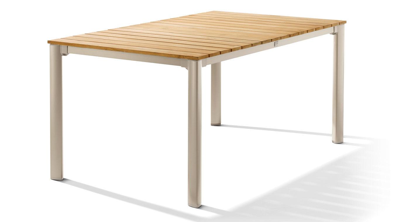 Tischplatte holz natur  Sieger Exclusiv Teak Loft Tisch Gartentisch 2780-03, Gestell Aluminium  polyesterbeschichtet in Champagner, Tischplatte Teak-Holz