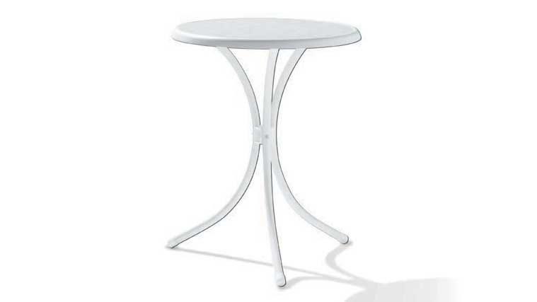 Gartentisch Rund Möbel.Sieger Gartentisch Tisch Rund 100 W Mecalit D 60 Cm Gestell Stahlrohr Weiss Tischplatte Mecalit Weiss
