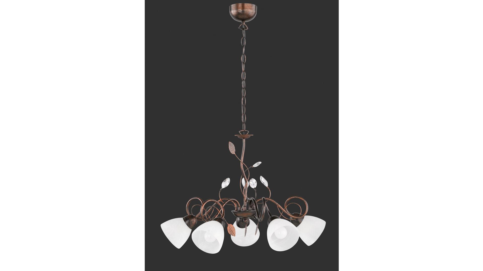 Kronleuchter Trio ~ Kronleuchter antik rostfarbenes metall u fünf lampenschirme bad