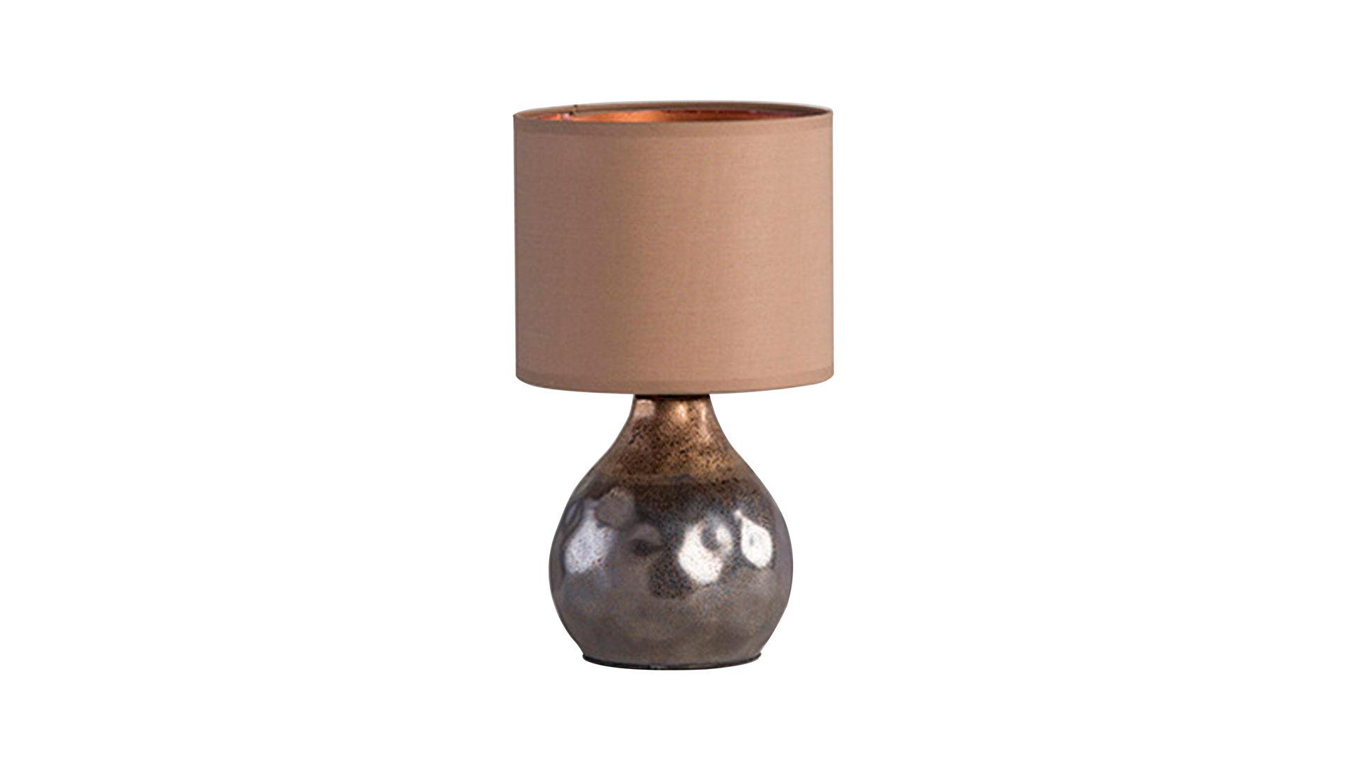 Tischleuchte Bollo, braune Keramik & Stoffschirm – Höhe ca. 31 cm ...