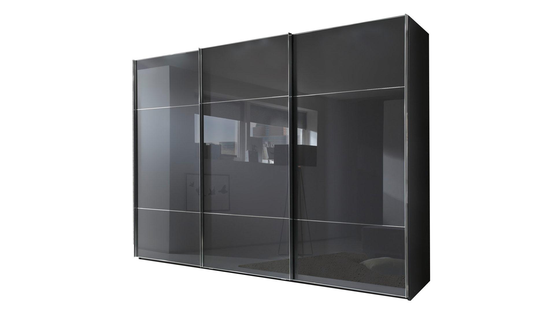 Schwebetürenschrank Marcato 2.3, graphit- & basaltfarbene Oberflächen –  drei Türen