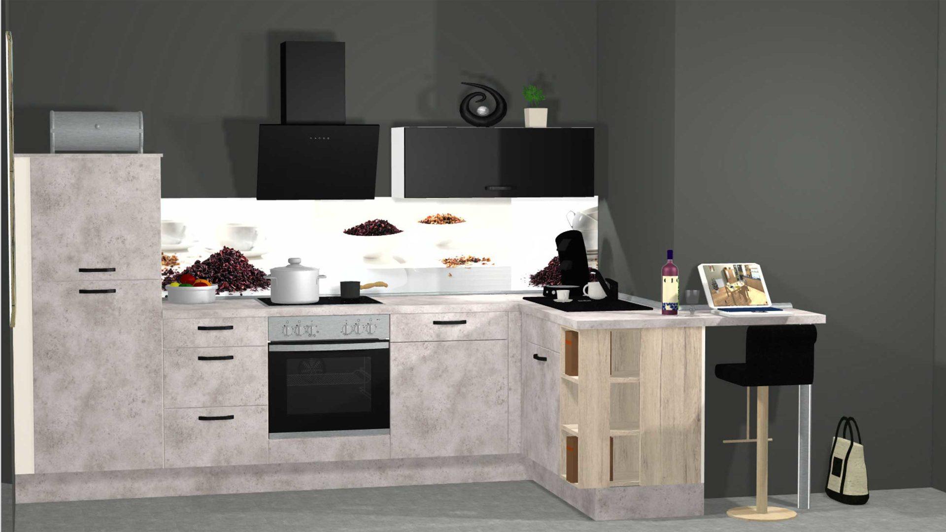 Hochwertige, moderne nobilia Küche mit Schräghaube und Nischenrückwand,  Keramikgraue nobilia Einbauküche Speed inkl. Privile
