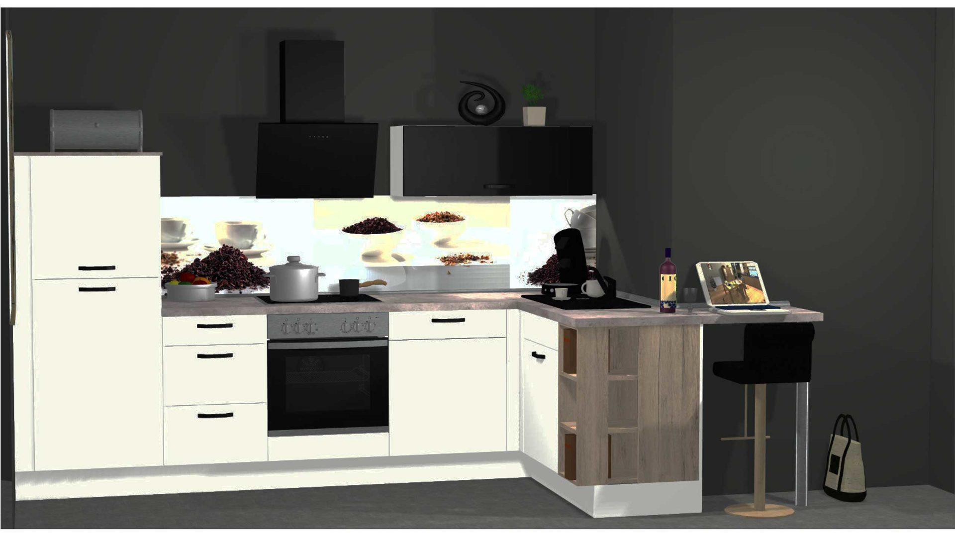 Hochwertige, moderne nobilia Küche mit Schräghaube und ...