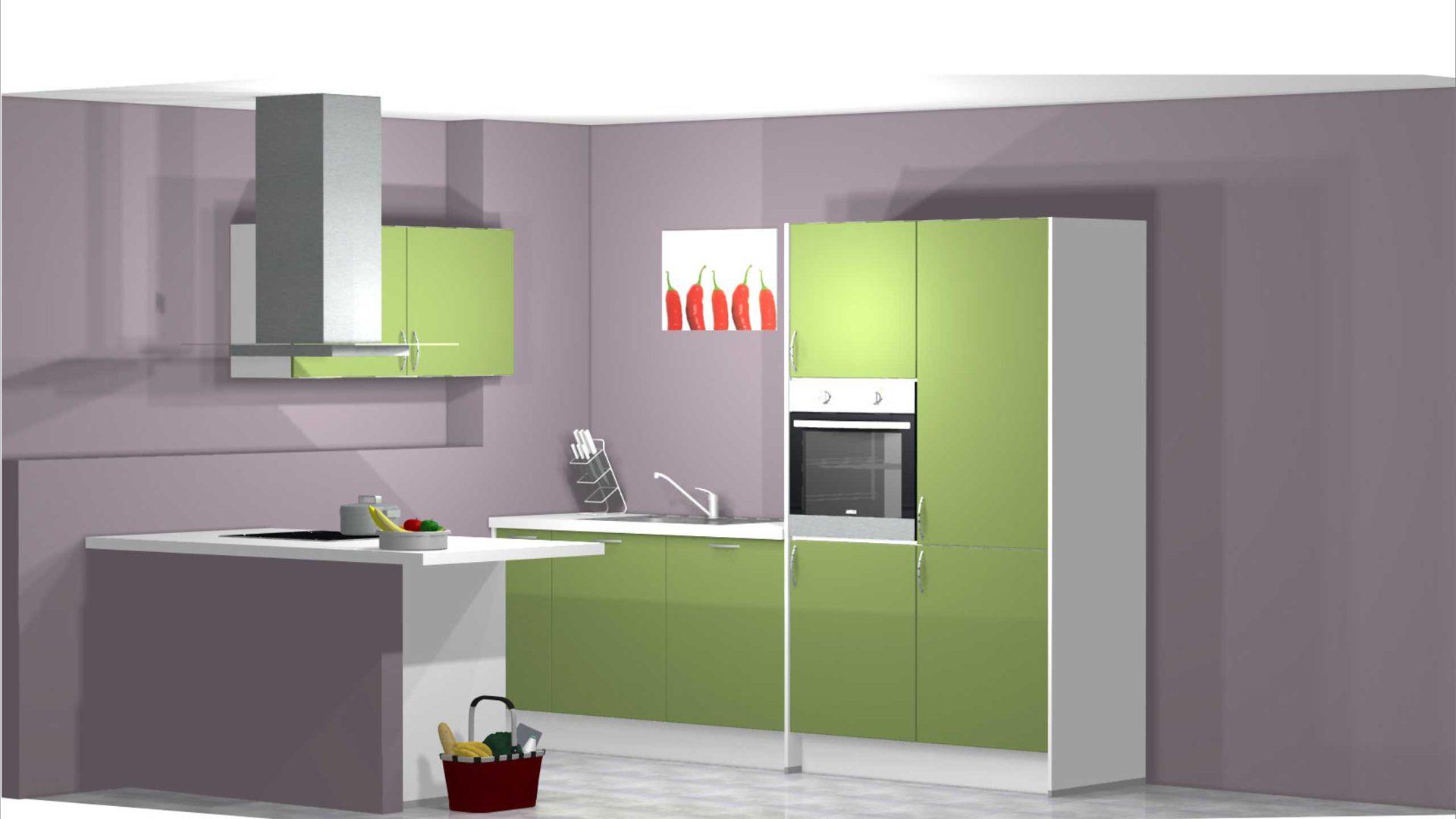 Moderne offene Küche zum kleinen Preis, Einbauküche Küche PN 80 inkl.  E-Geräte. Front, Korpus Avocado - Weiss