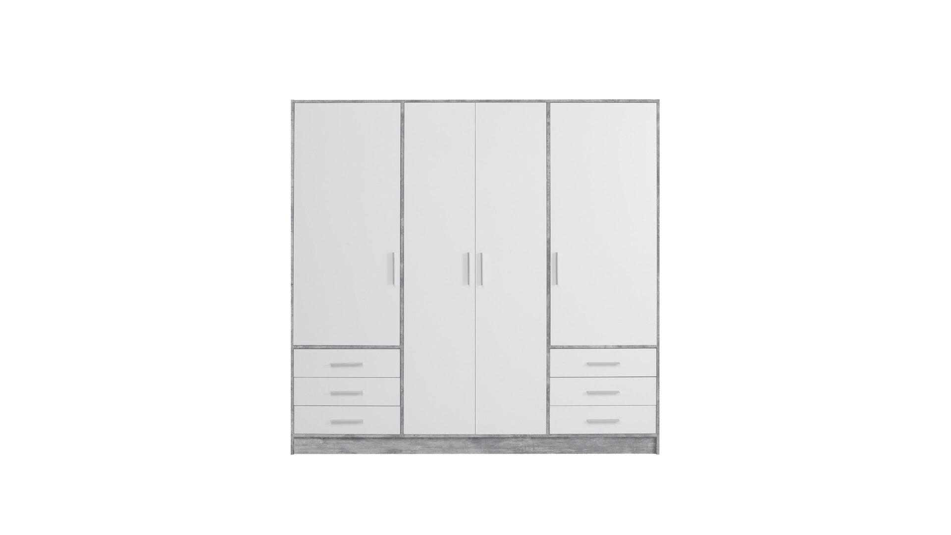 Kleiderschrank Lichtgrau Betonfarbene Weiße Kunststoffoberflächen