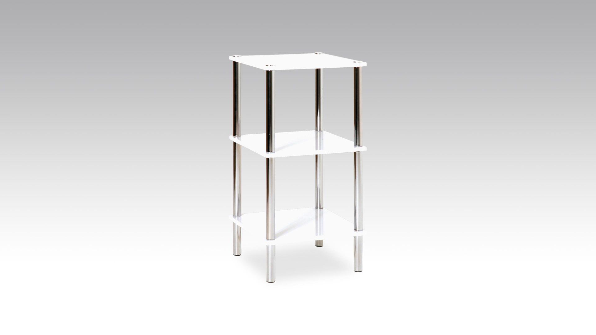 Regal im Badezimmer oder als Beistelltisch einsetzbar, weiße  Kunststoffoberfläche & Chrom - drei Böden, Höhe ca. 77 cm