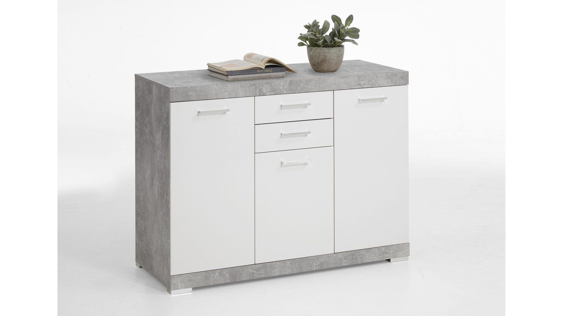 Sideboard Betonfarbene Weisse Kunststoffoberflachen Drei Turen