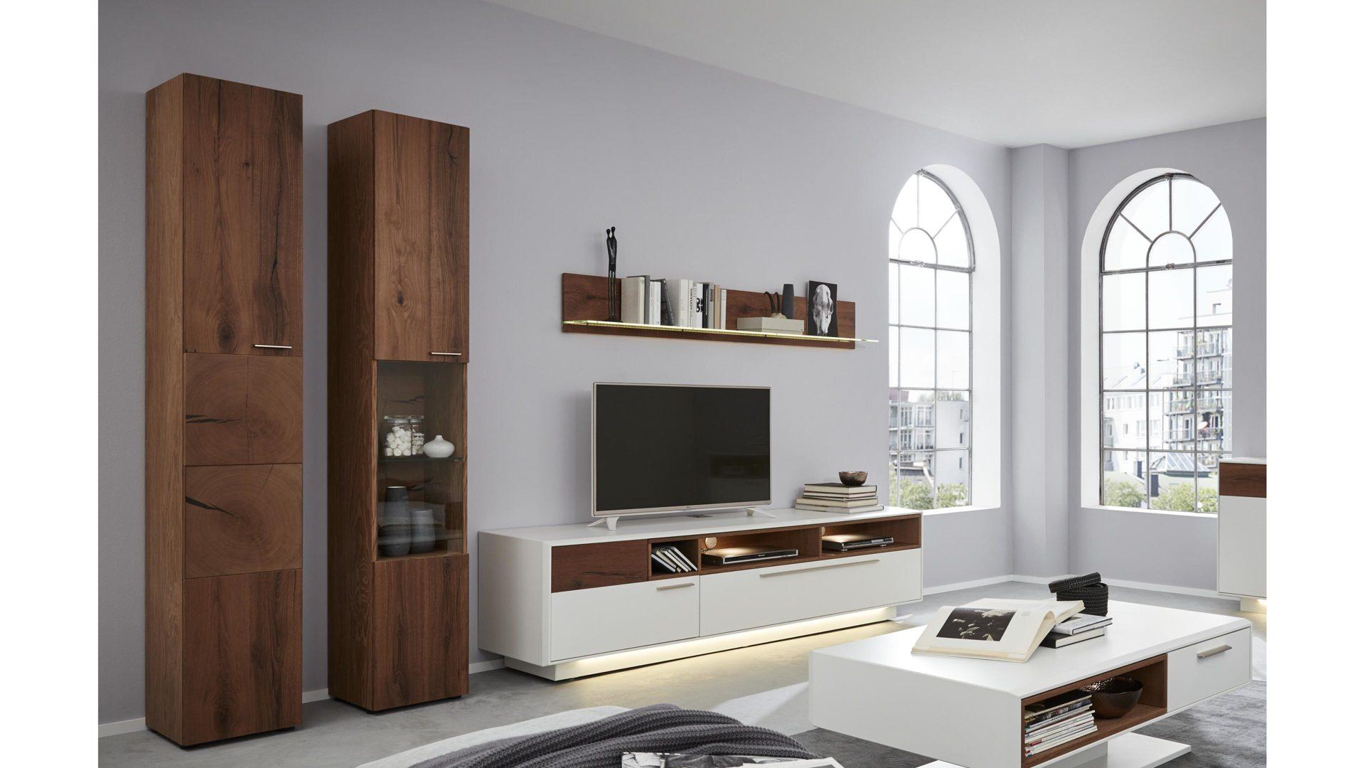 Interliving Wohnzimmer Serie 2102 Wohnkombination 510804s Mit Beleuchtung Dunkles Asteiche Furnier Weisser Mattlack V