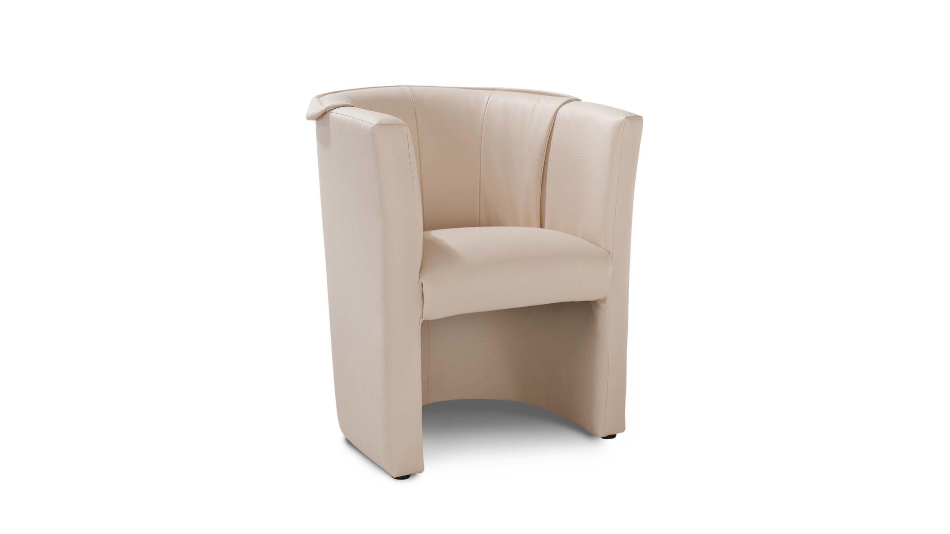 Cocktailsessel, ein Polstermöbel mit Stil, beigefarbenes Kunstleder ...