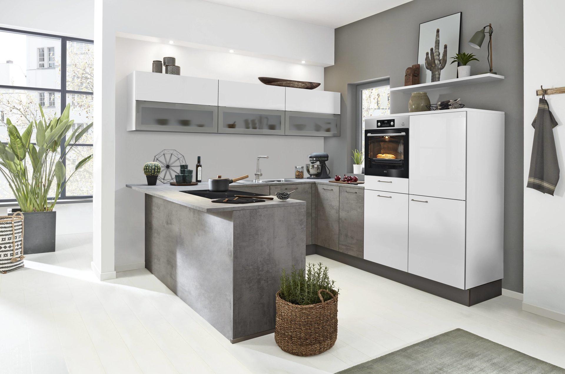Einbauküche Nolte KÜchen (auch Il) Aus Holz In Weiß Interliving Küche Serie  3006 Mit