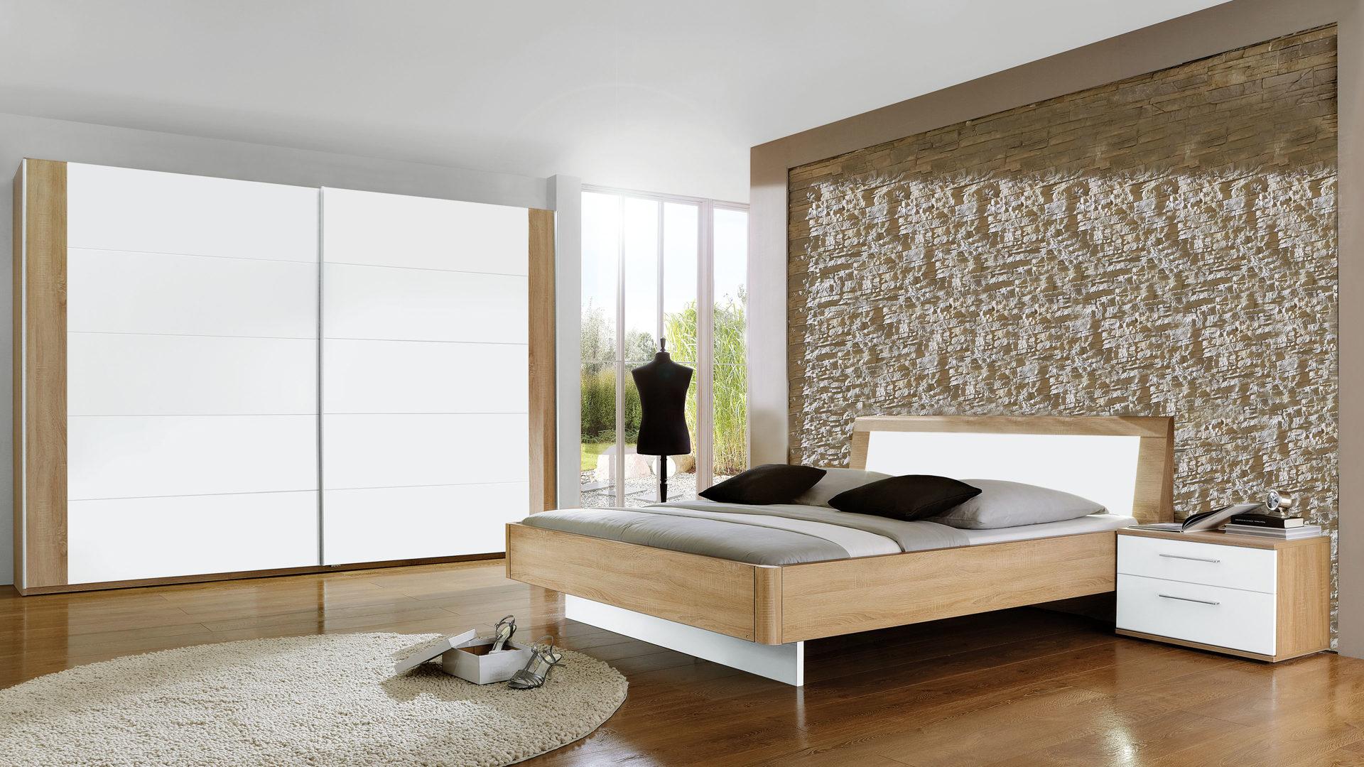 modernes PARTNERRING COLLECTION Schlafzimmer , weiße & Macao eichefarbene  Oberflächen - vierteilig, Liegefläche ca. 180 x 200