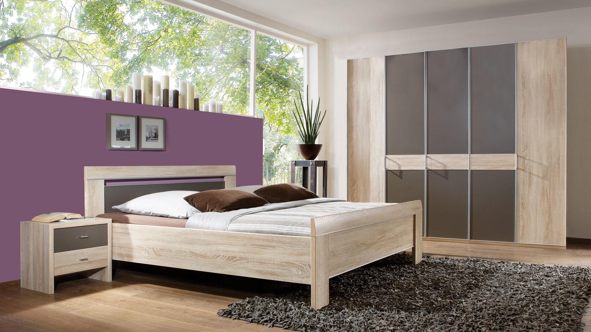 WIEMANN Schlafzimmer Donna mit Kleiderschrank, sägeraue eiche- &  havannafarbene Kunststoffoberflächen - vierteilig, Liegefläc