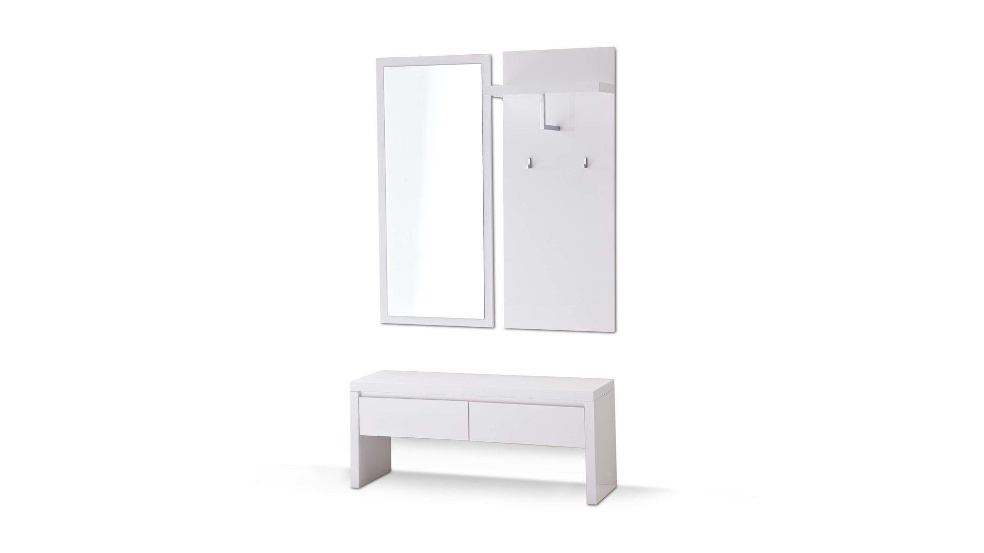 Garderobe als Flurmöbel mit Sitzbank, weiße Hochglanzoberflächen –  dreiteilig