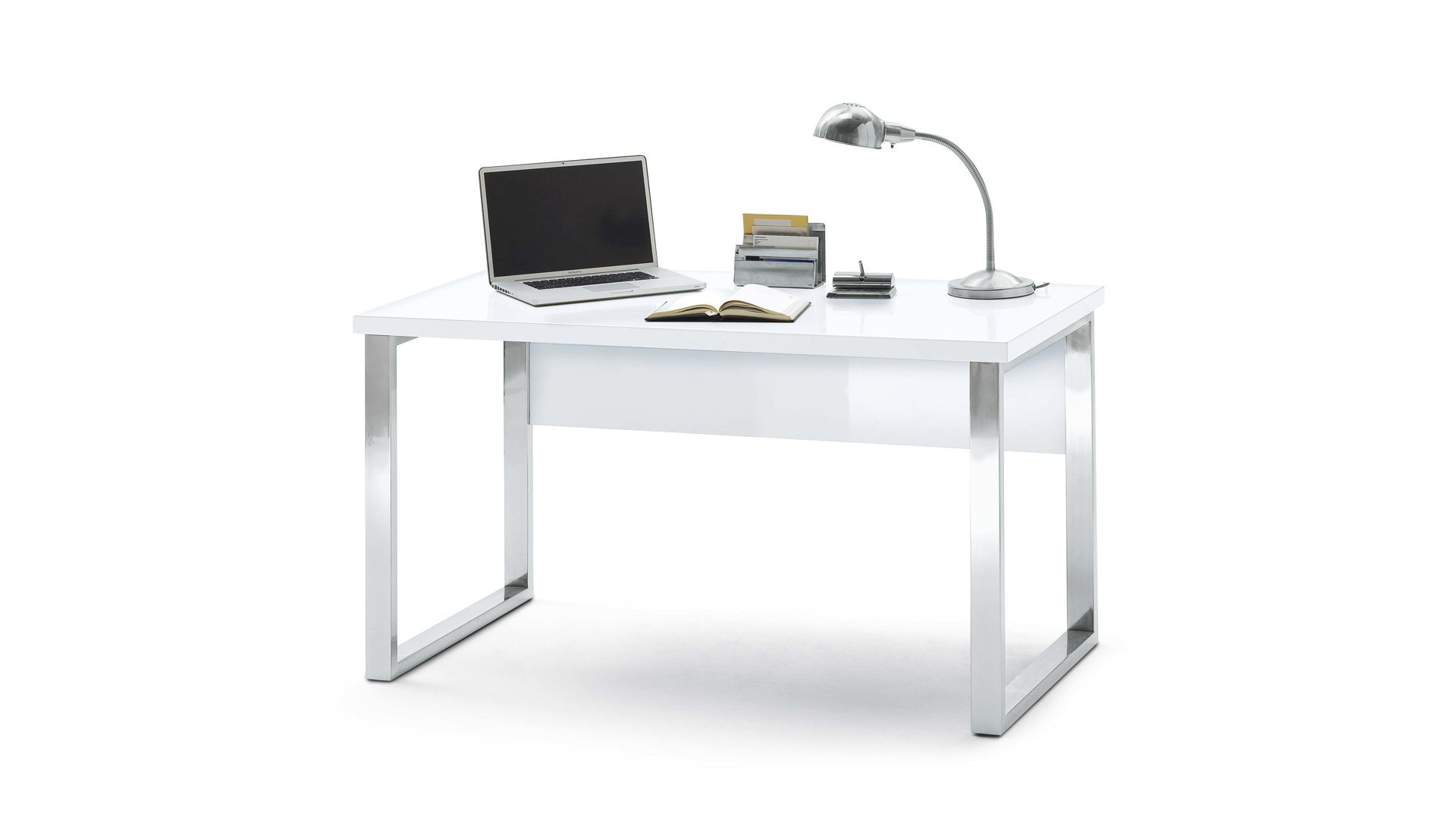 Schreibtisch fürs Wohnzimmer oder Home Office, verchromtes Gestell ...