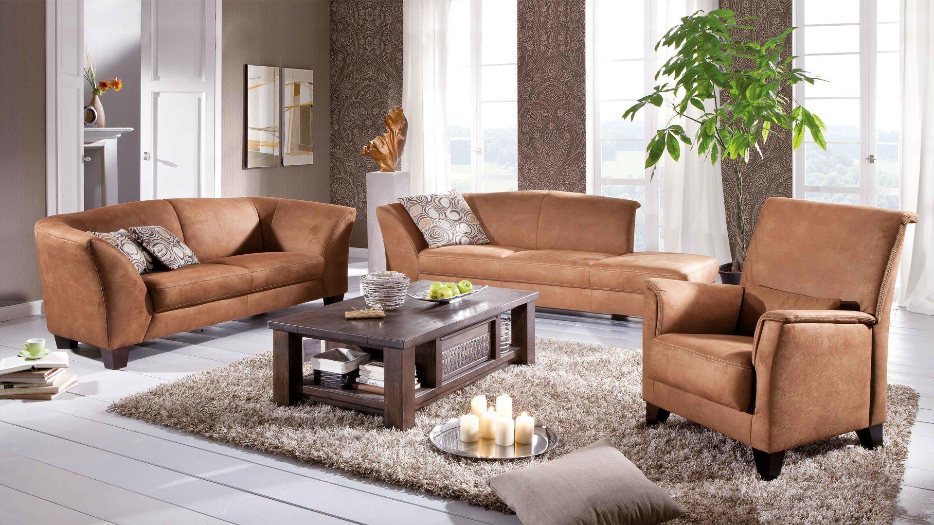 WOODS & TRENDS 3-Sitzer, 2-Sitzer und Sessel mit Federkern und, Bad ...