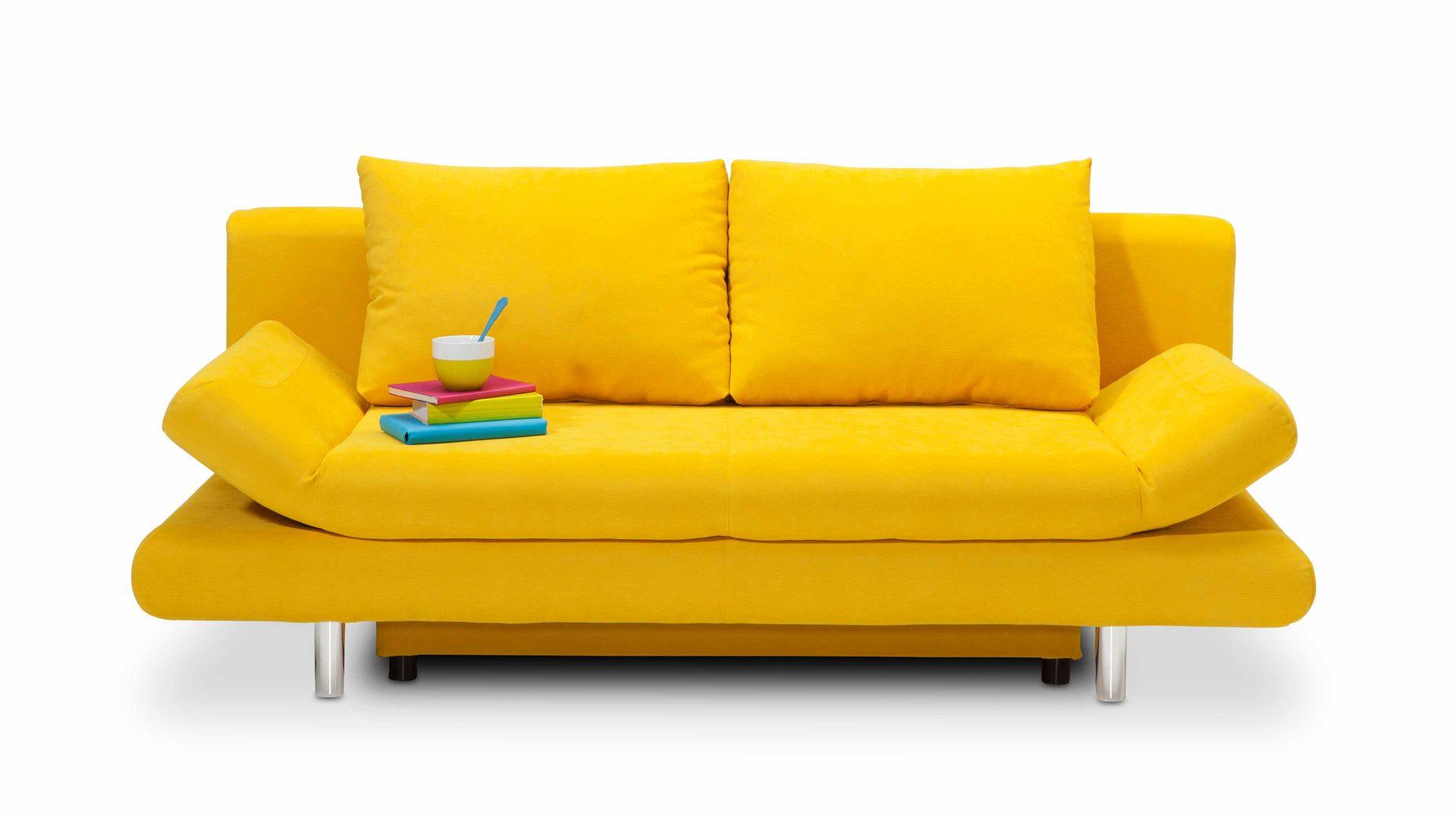 Schlafsofa - Schlafcouch als flexibles Möbel, sonnengelber Bezug ...