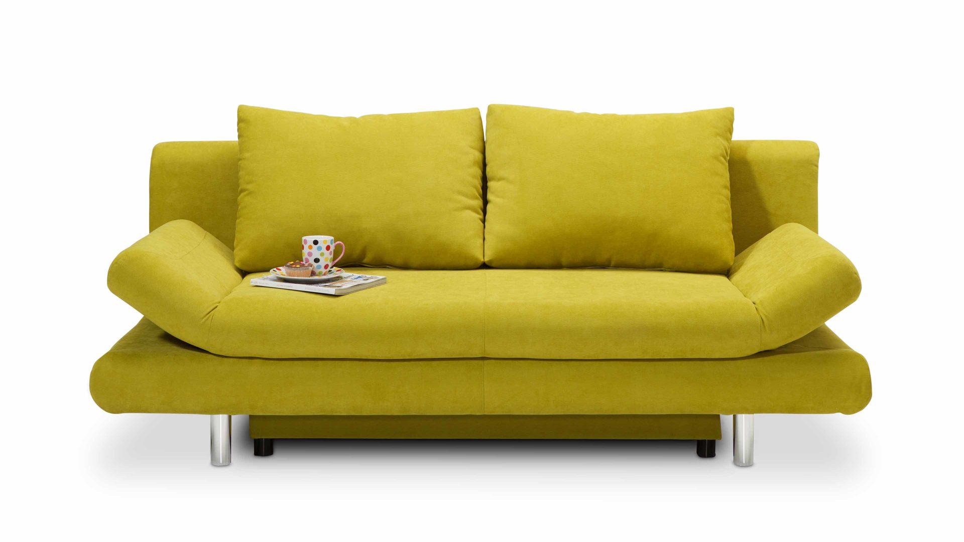 Schlafsofa Frankfurt schlafcouch polstermöbel und bettsofa in einem lemongrüner bezug