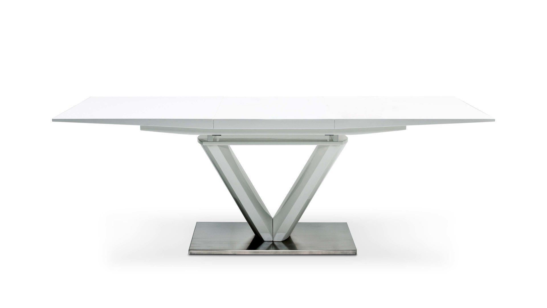 Esstisch ausziehbar holz metall  ausziehbarer Esstisch für schönes Wohnen, Hochglanz weiß & Edelstahl  gebürstet - ca. 160-220 x 77 x 90 cm