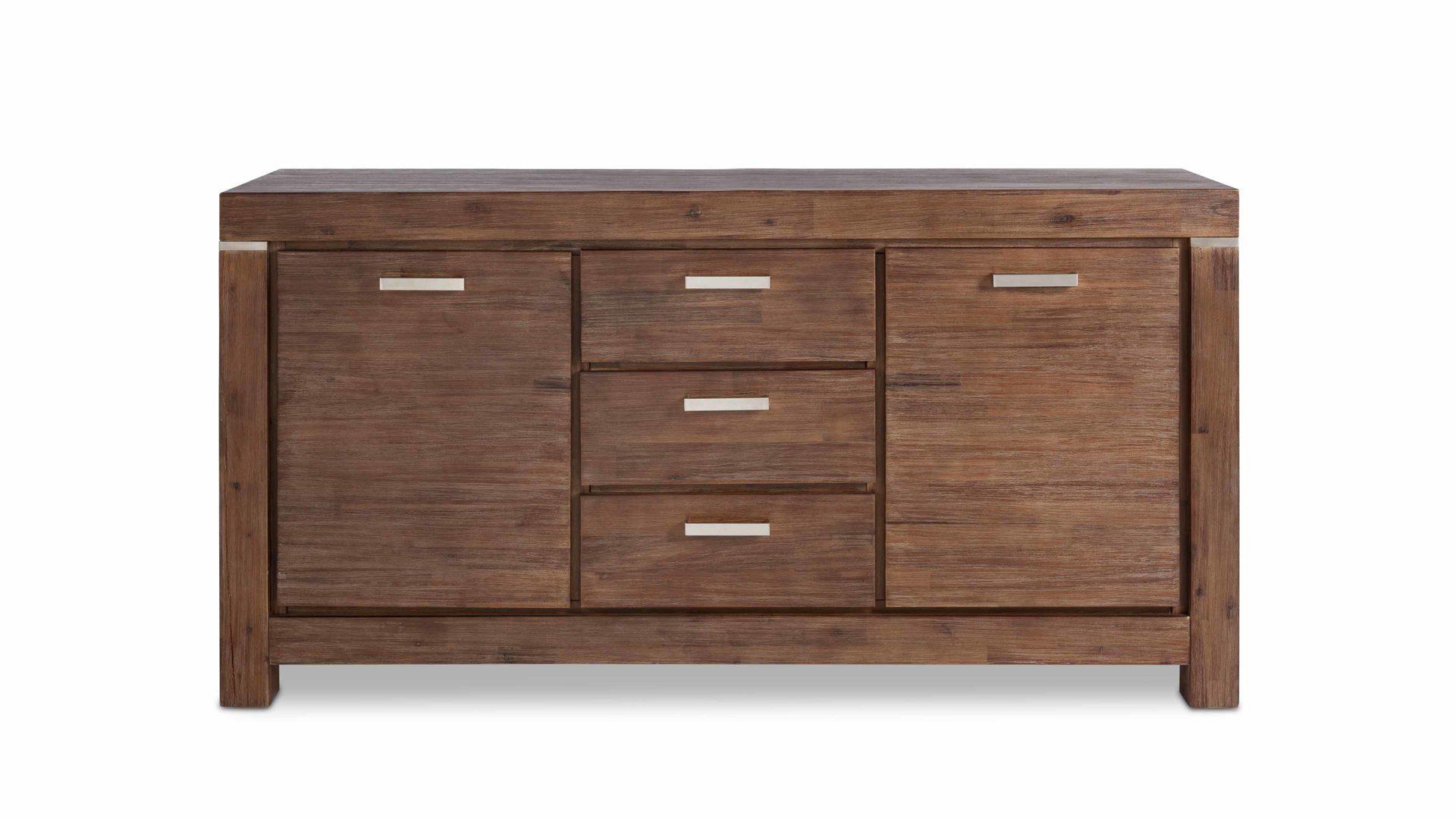 Sideboard Victoria, ein Massivholzmöbel mit Stauraum, braun geöltes &  gekälktes Akazienholz - zwei Türen, drei Schubladen