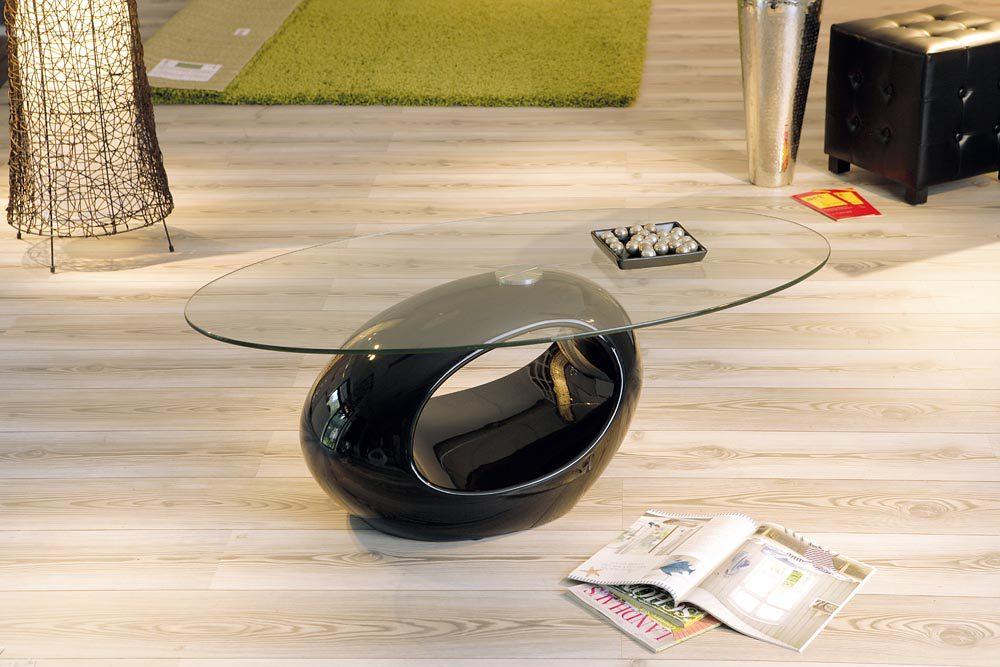 Couchtisch oval braun  Couchtisch bzw. Wohnzimmertisch Nigra für modernes Wohnen, schwarze ...