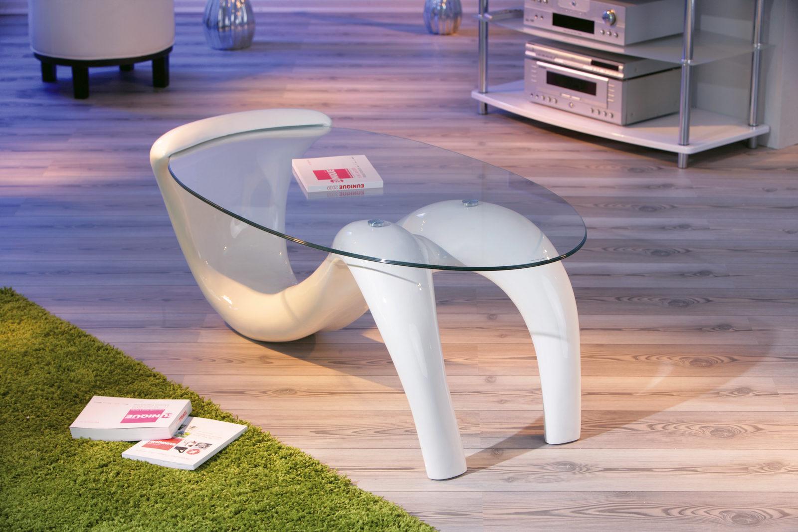 Couchtisch glas oval weiß  Couchtisch Bella für ansprechende Wohnzimmer, weißes ...