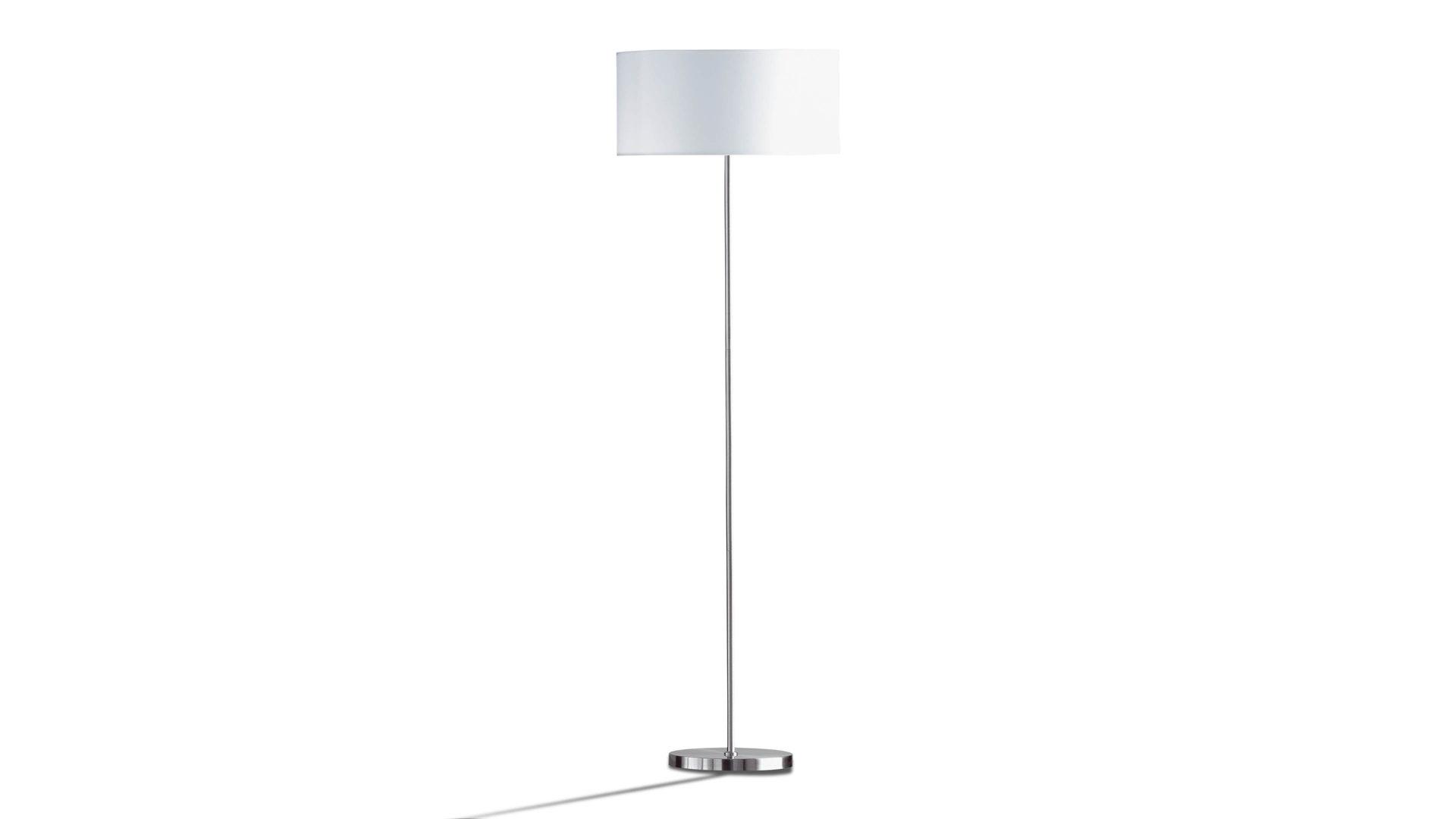 Stehleuchte Loft - Stehlampe, weißer Lampenschirm & vernickelter Fuß ...