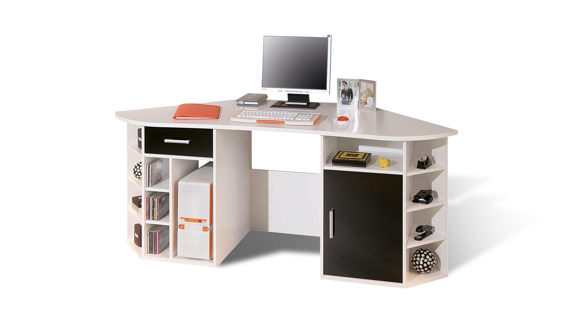 Eckschreibtisch Fabri für Home-Office und Büro, weiße & schwarze ...