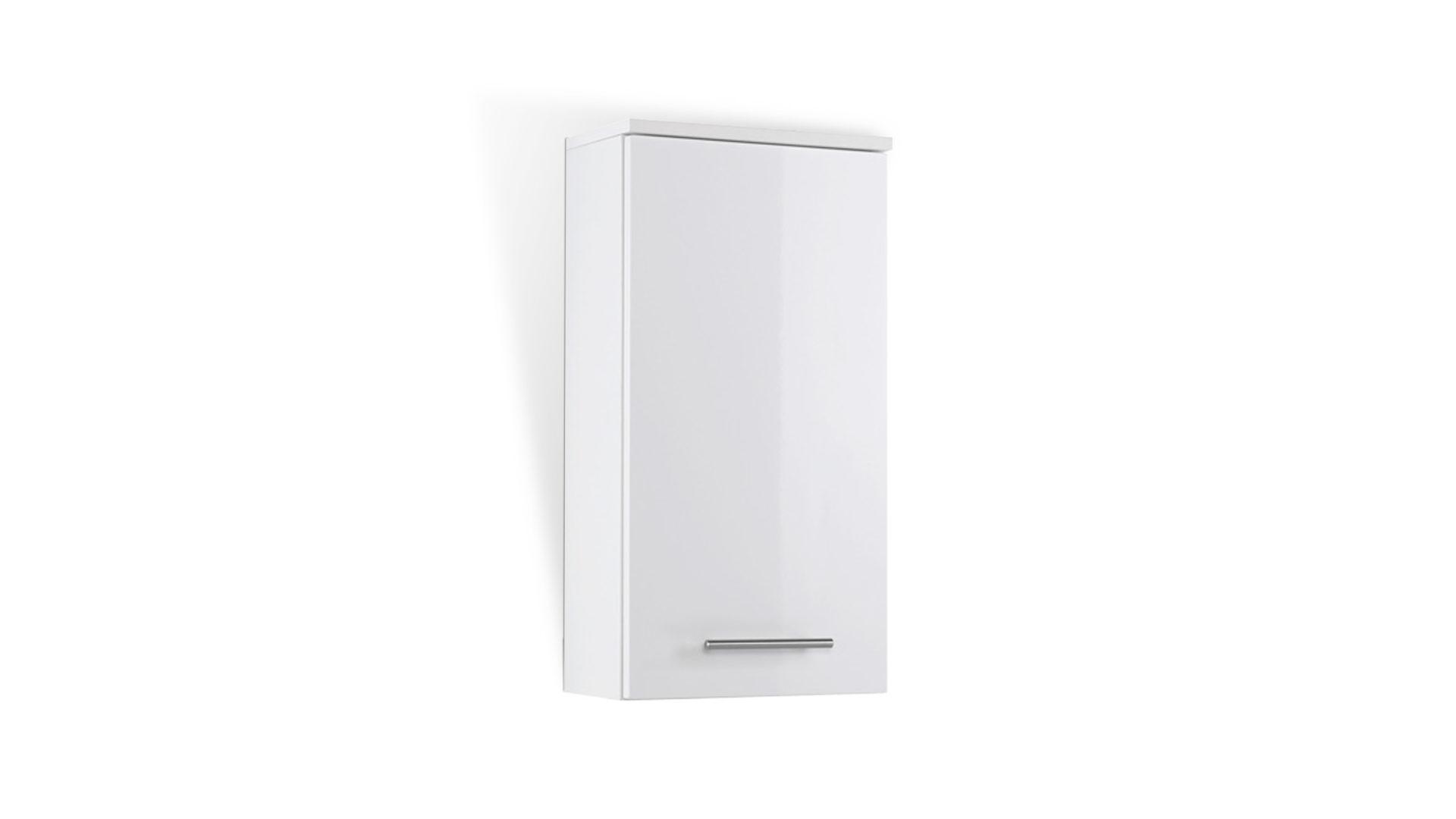 Bad-Hängeschrank Blanco bringt Ordnung ins Badezimmer, weiße Hochglanzfront  & weiße Melaminoberfläche – Breite ca. 35 cm,