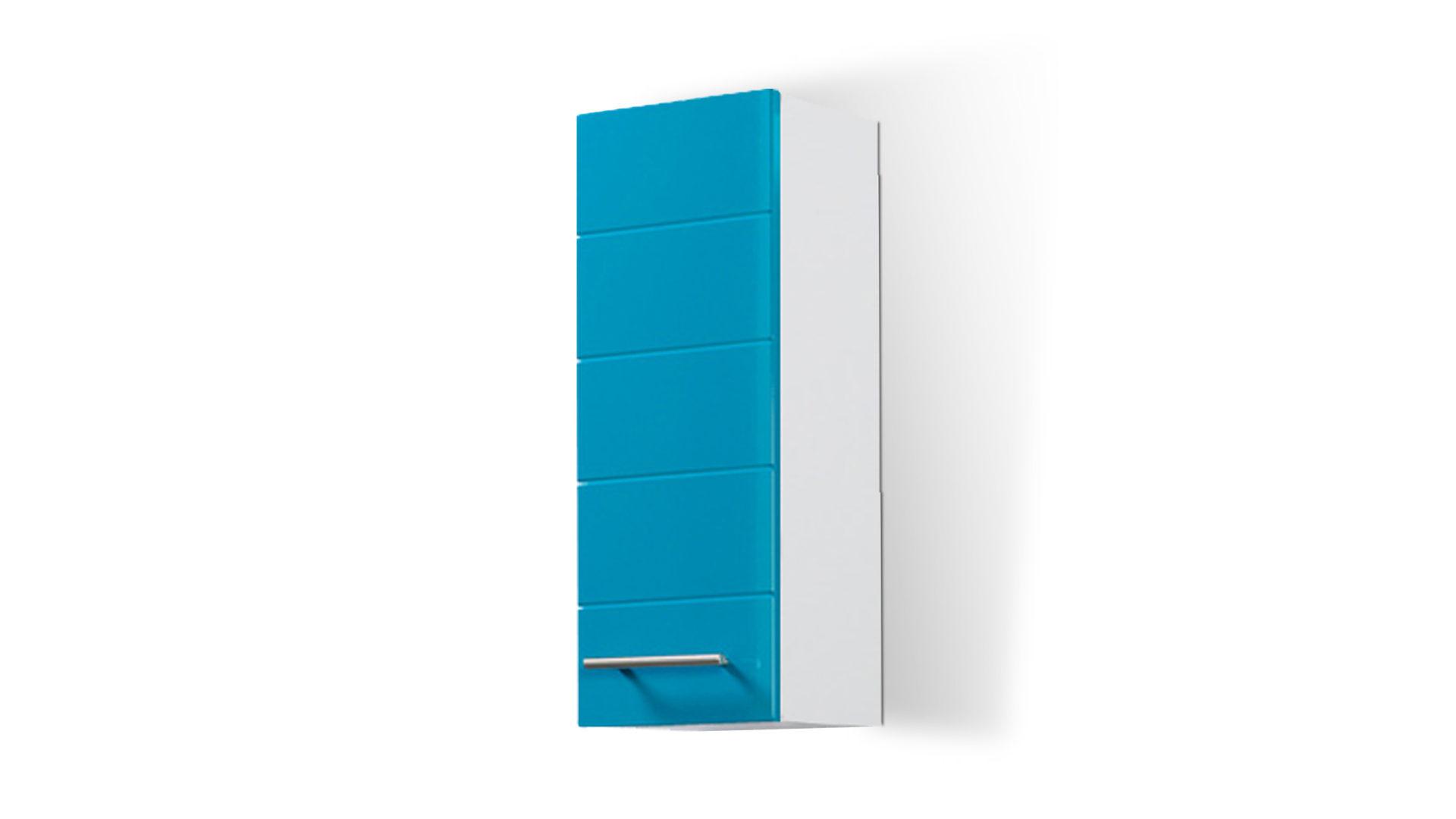 Bad-Hängeschrank Rimini auch für kleine Badezimmer, türkise Hochglanz- &  weiße Melaminoberflächen – Breite ca. 25 cm