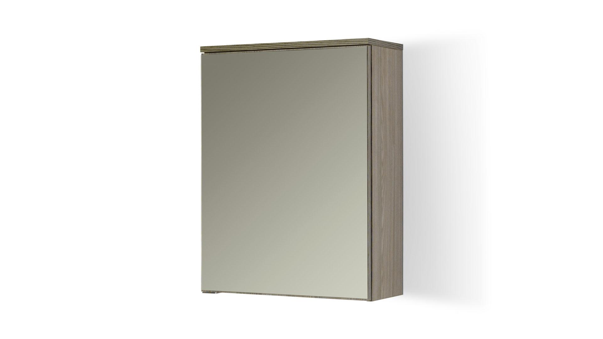Spiegelschrank Mailand, ein Hängeschrank fürs Badezimmer, dunkel  eichefarbene Melaminoberfläche – Breite a. 60 cm