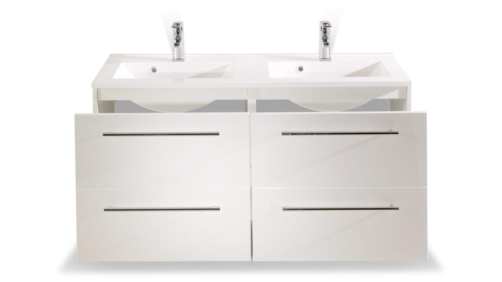 Waschtisch-Set Mailand als modernes Badezimmermöbel, weiße Hochglanz- &  weiße Melaminoberflächen – Breite ca. 120 cm, zwei