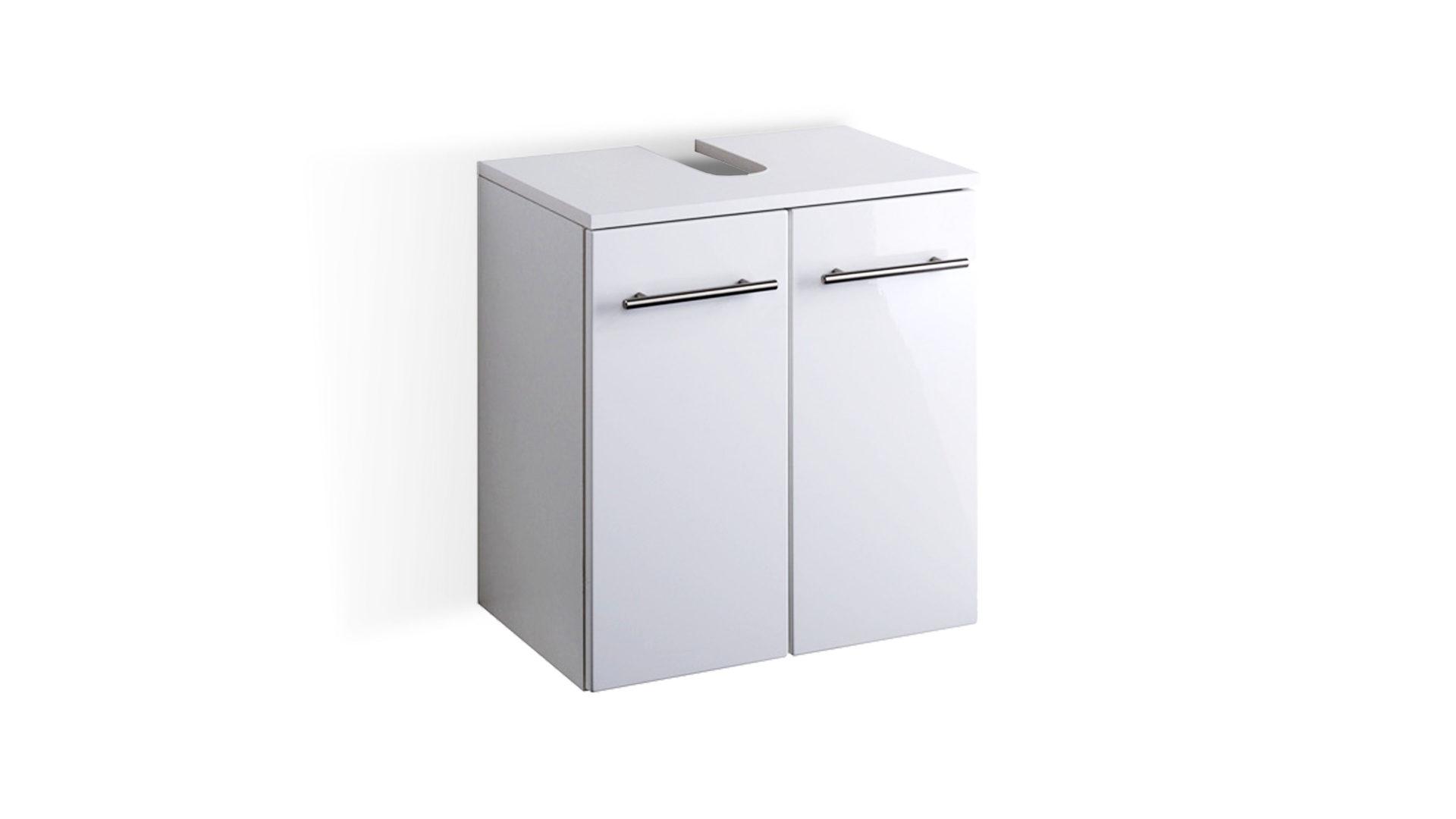 Waschbeckenunterschrank Parma als Badezimmermöbel, weiße Hochglanz ...