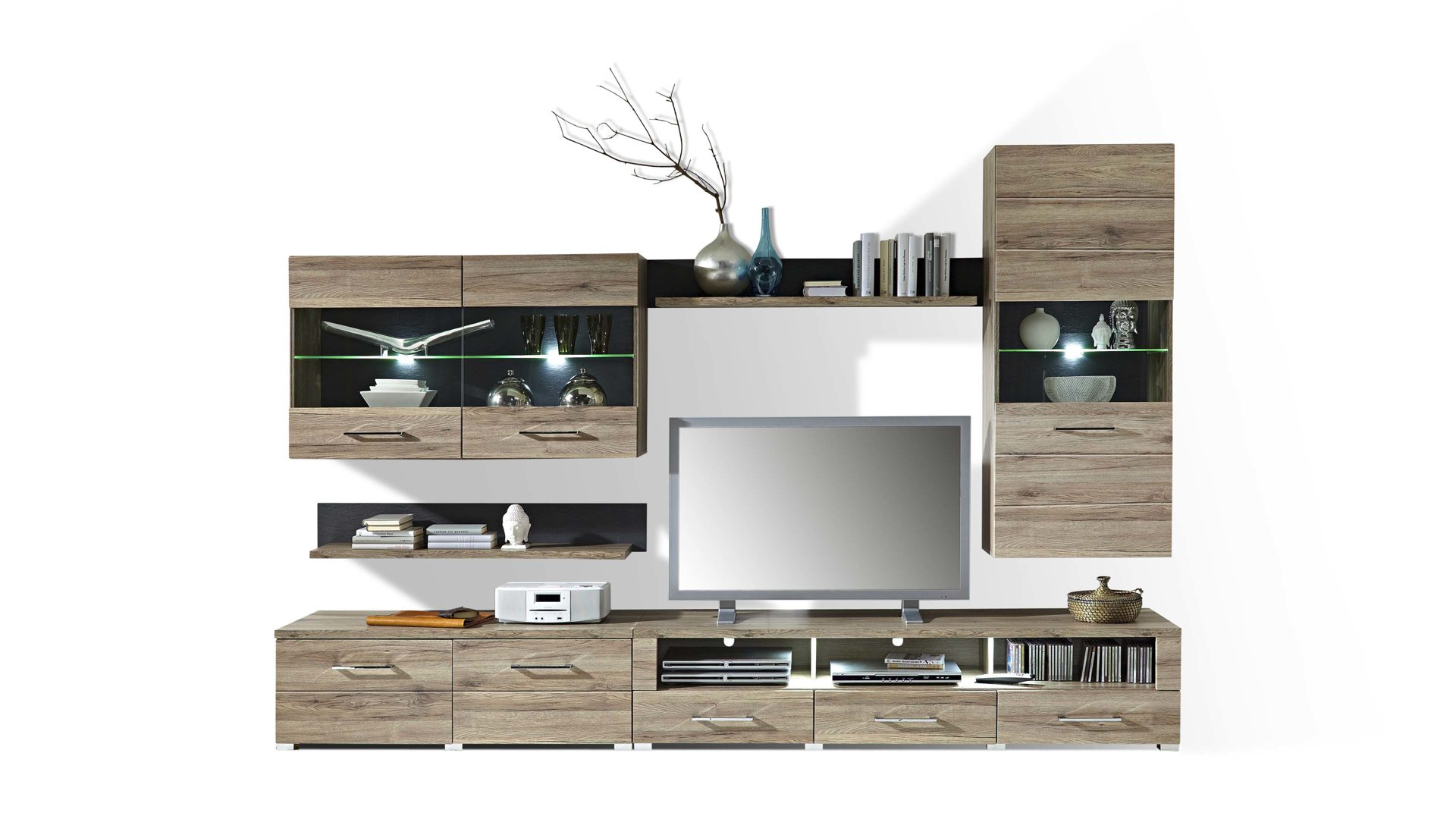 Moderne Wohnwand Mit Vitrinen Und TV Möbel, Sechsteilig, San Remo, Bad  Homburg Bei Frankfurt