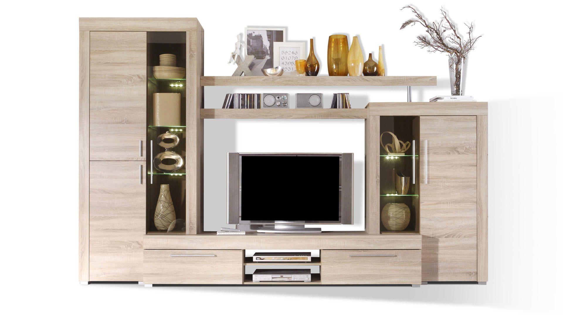 Wohnwand als Wohnzimmermöbel mit individueller Note, Eiche-Sägerau ...