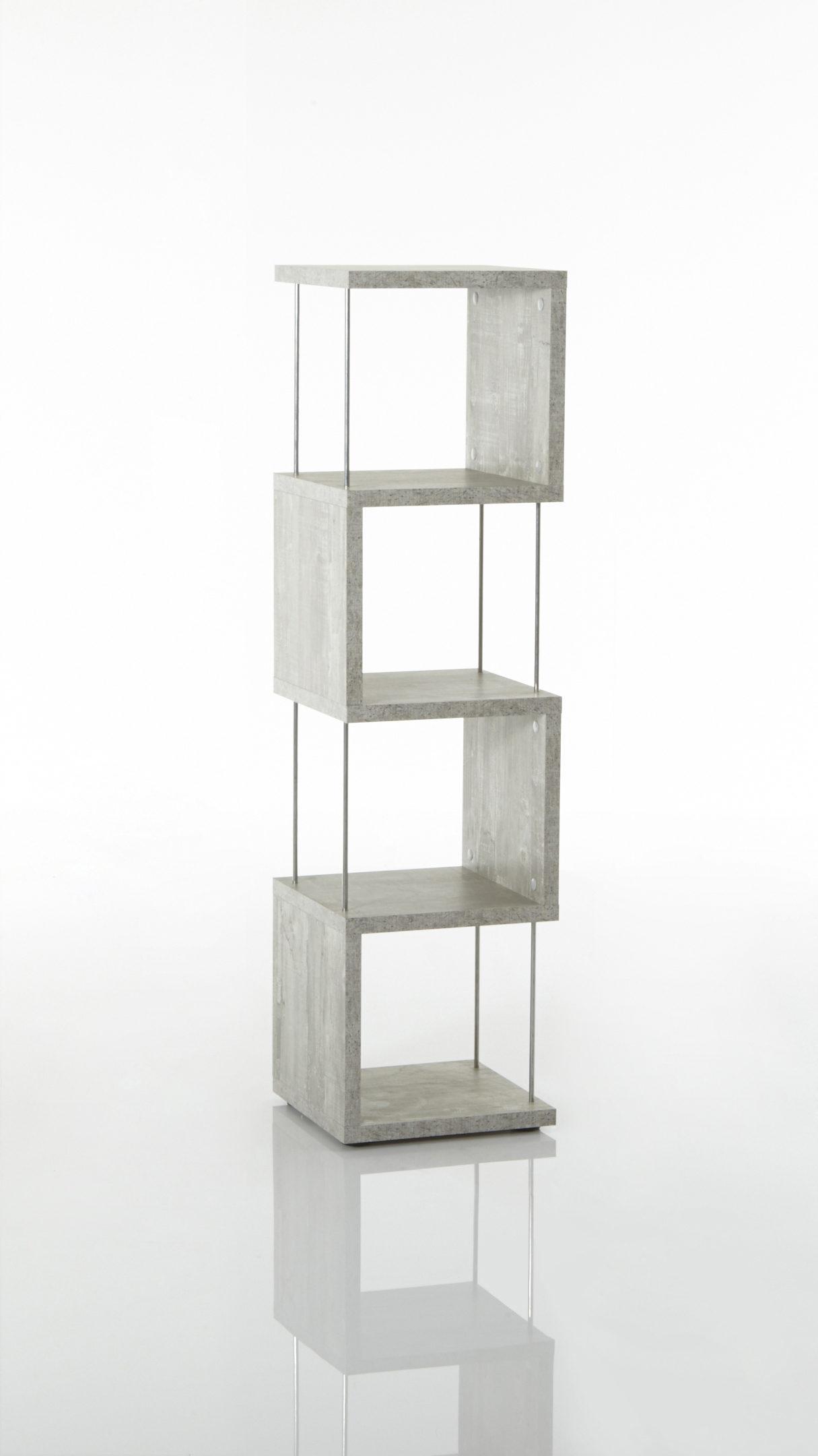 schmales Regal im String-Look bzw. Bücherregal, betonfarbene  Kunststoffoberflächen - ca. 33 x 126 x 33 cm