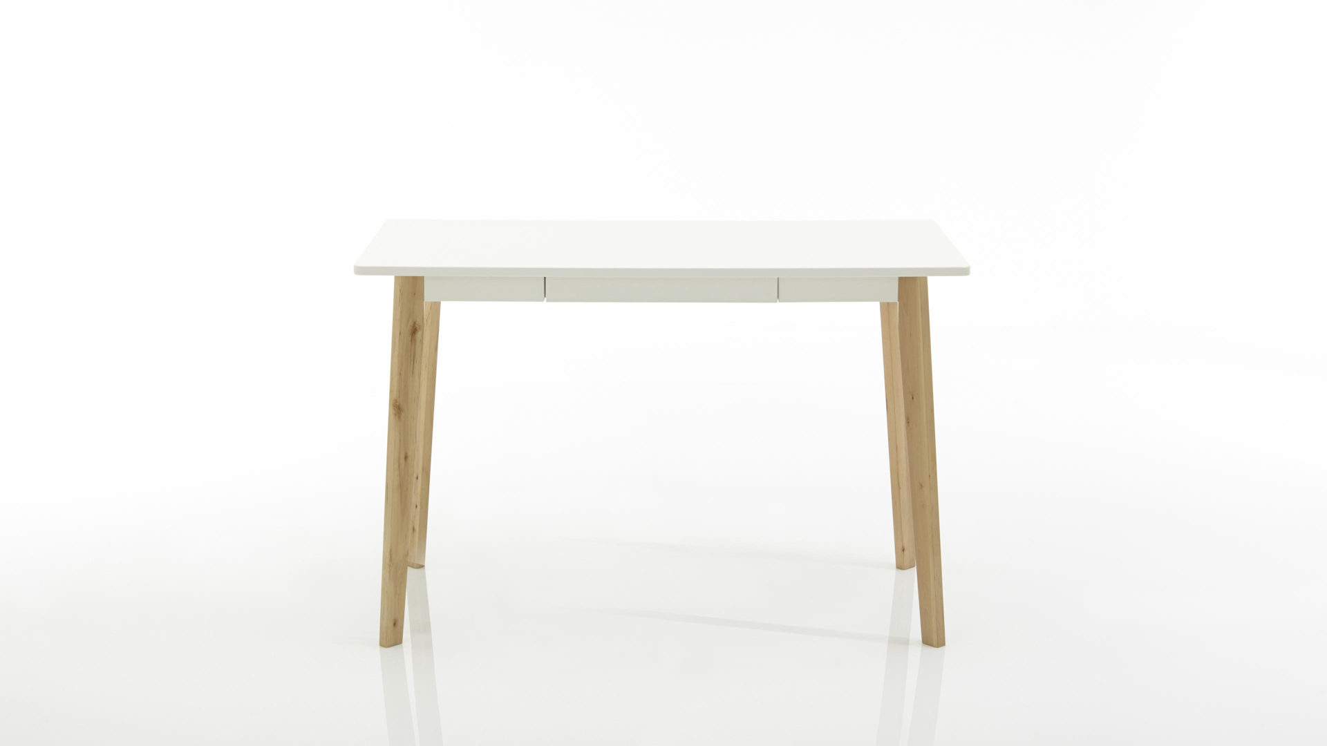 Retro-Schreibtisch als attraktiver Bürotisch , weiß lackierte Holzplatte &  lackiertes Birkenholzgestell - ca. 117 x 58 cm