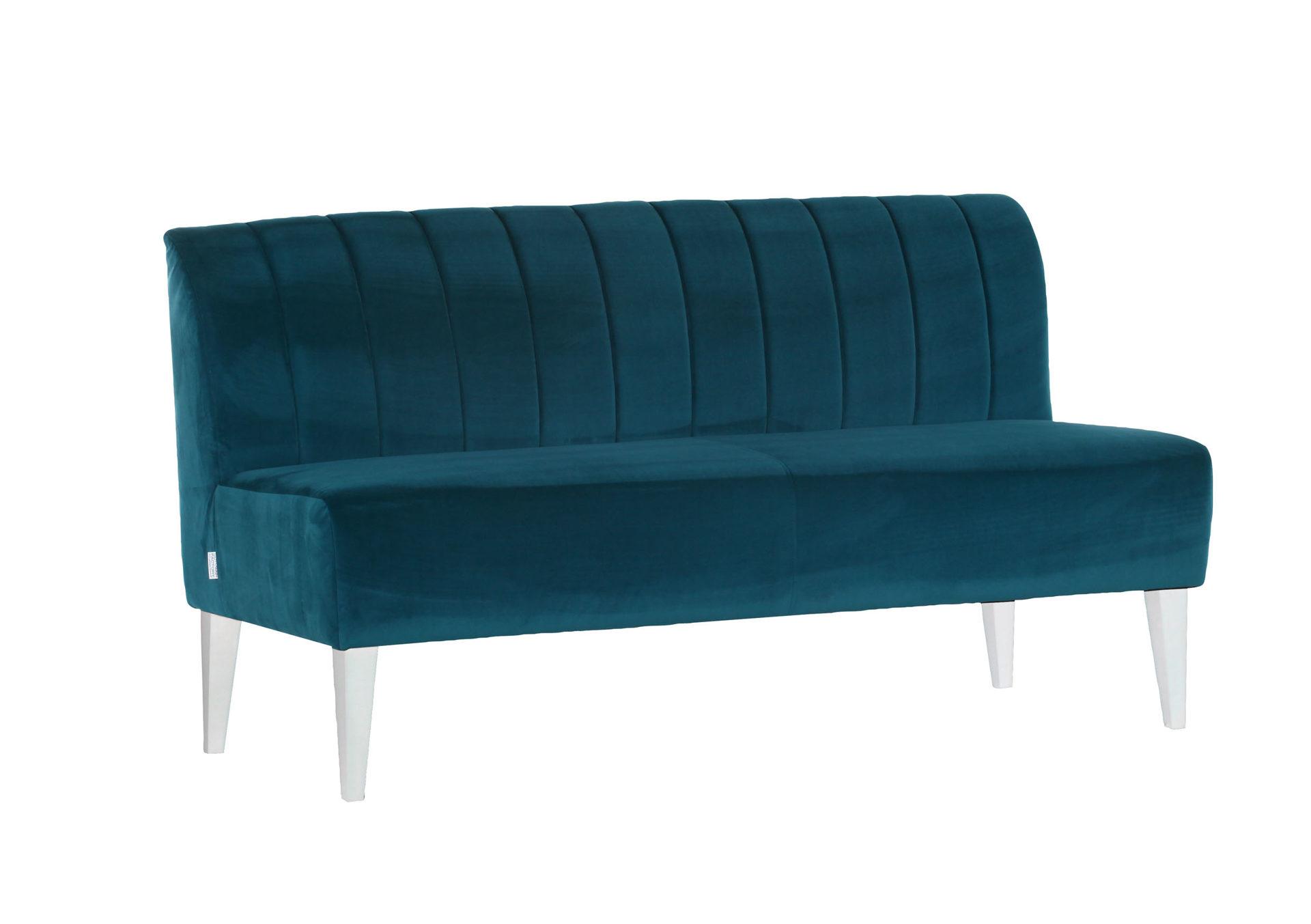 Sofa Im Retro Stil Als Polstermobel Mit Flair Petrolfarbener Stoff 312 83 Weisse Holzfusse Breite Ca 168 Cm