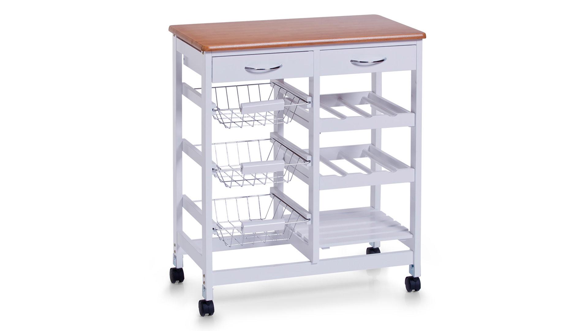 Küchenrollwagen, weiße & bambusfarbene Oberflächen, verchromte ...