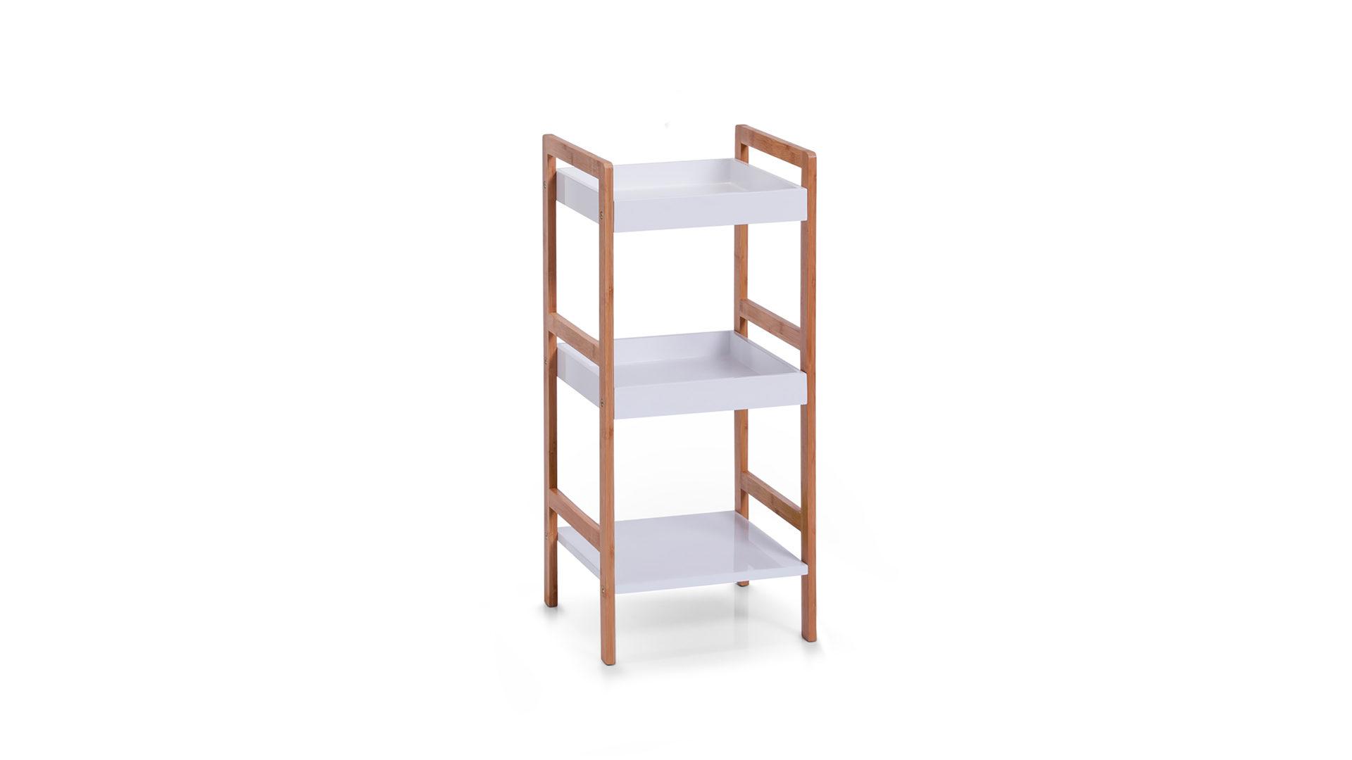 Standregal bzw. Badregal für Ihre Badeinrichtung, weiße & bambusfarbene  Oberflächen - drei Böden, Höhe ca. 80 cm