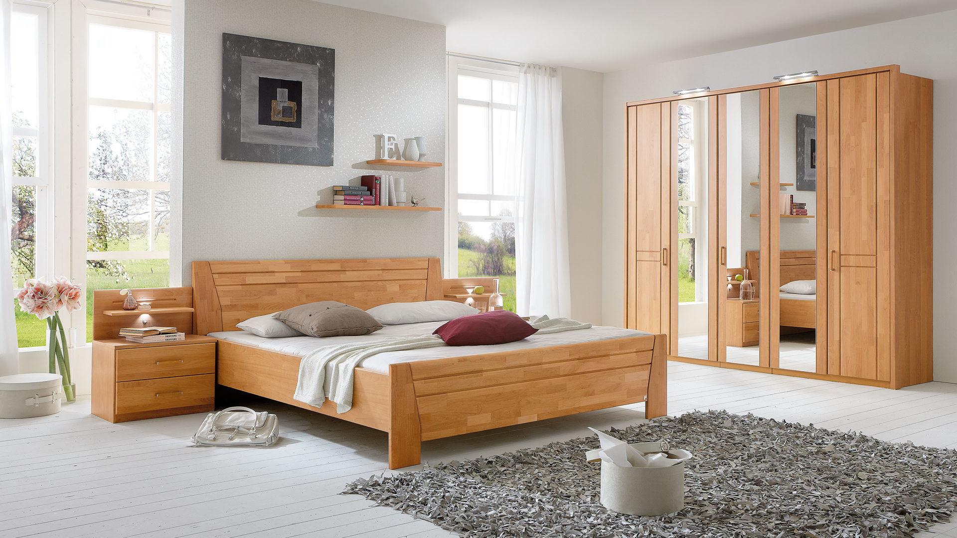 Schlafzimmerkombination Mit Kleiderschrank Doppelbettgestell Und